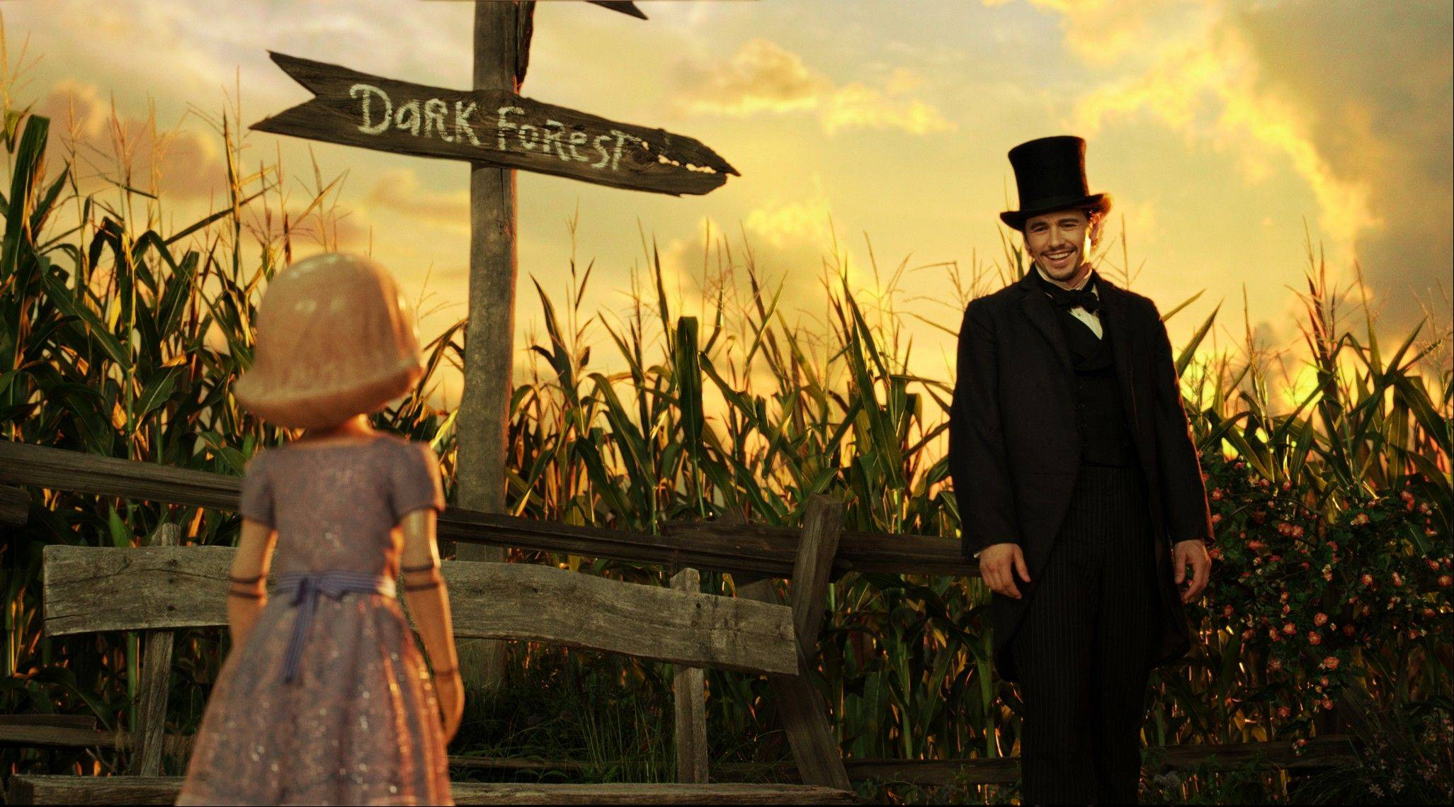 "China Girl (voiced by Joey King) meets Oz the magician (James Franco) in Sam Raimi's bloated sequel ""Oz the Great and Powerful."""