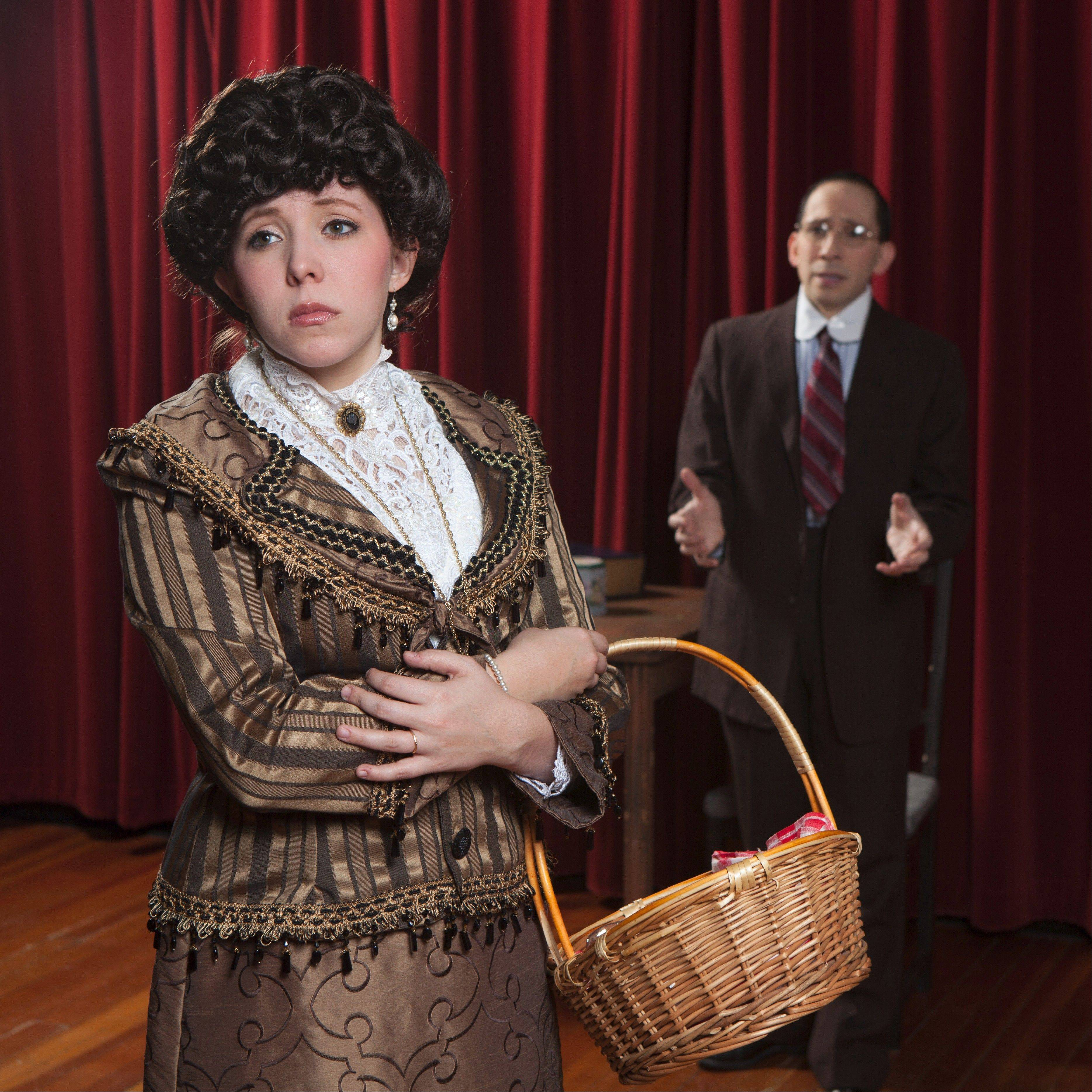 "Katy Harth, left, is Lucille and David Pfenninger is Leo Frank in the musical ""Parade,"" which is being put on the next two weekends at Harper College."