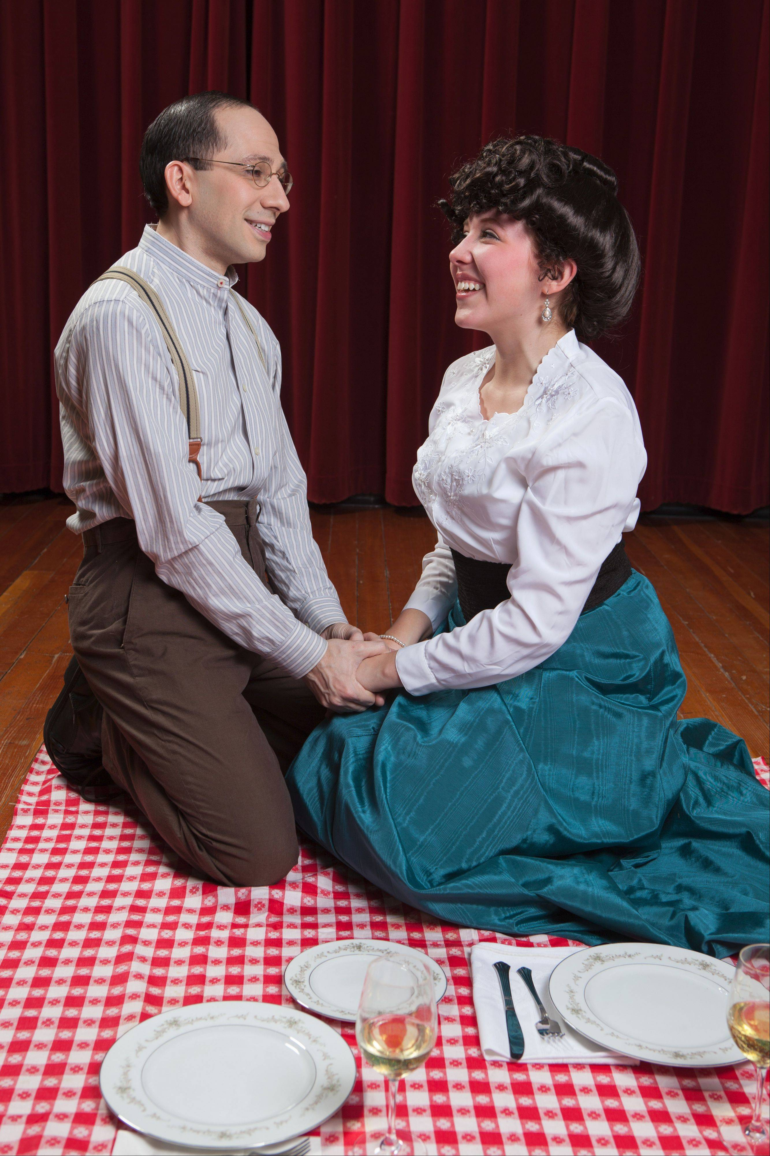 "David Pfenninger, left, is Leo Frank and Katy Harth is Lucille in the musical ""Parade,"" which is being put on the two new weekends at Harper College."