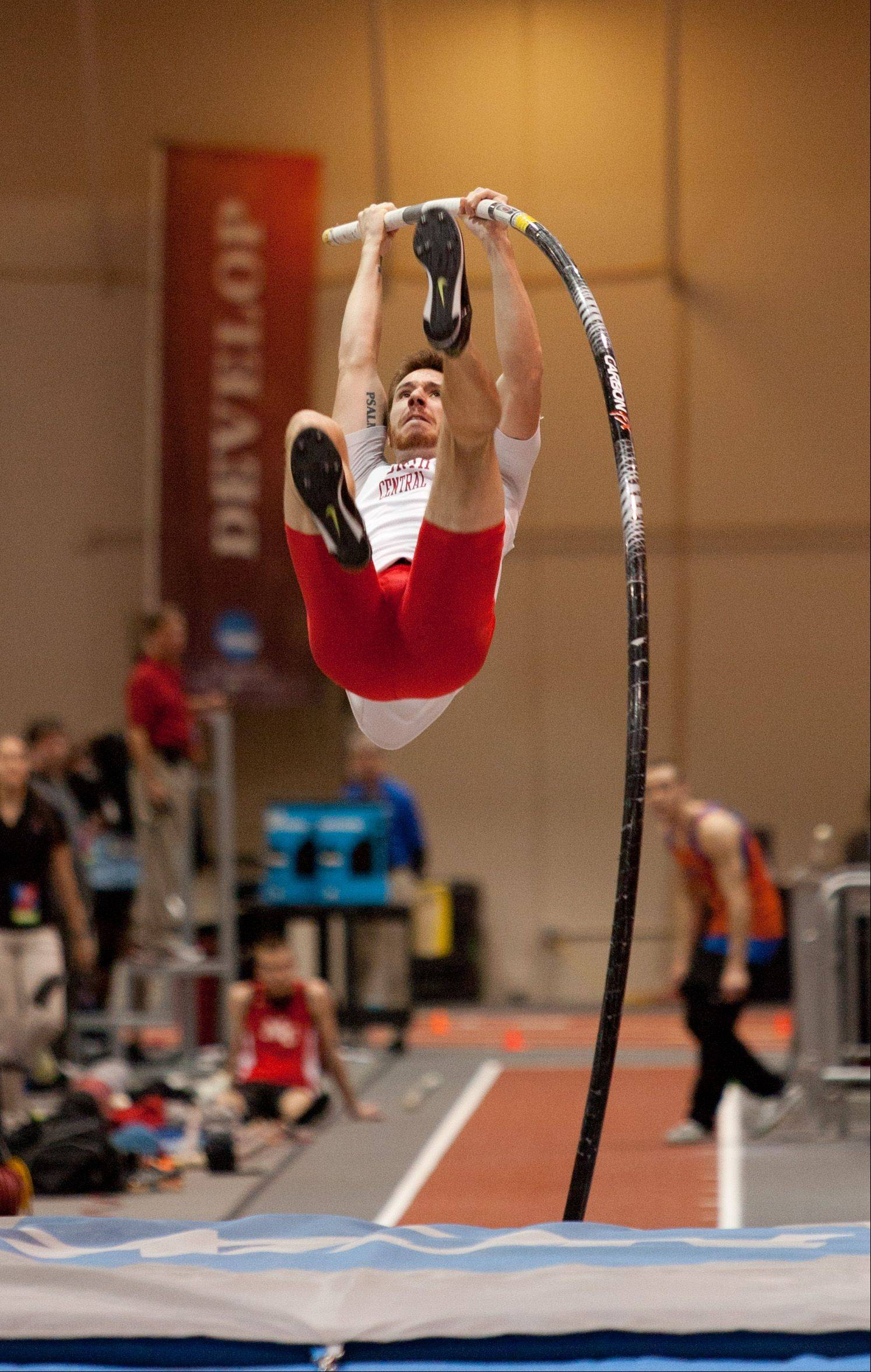 Daniel White/dwhite@dailyherald.comNorth Central College's Josh Winder eyes the bar during the first day of NCAA Division III National Indoor Track and Field Championships at North Central College in Naperville. Winder, a former national champion pole vaulter, finished third.