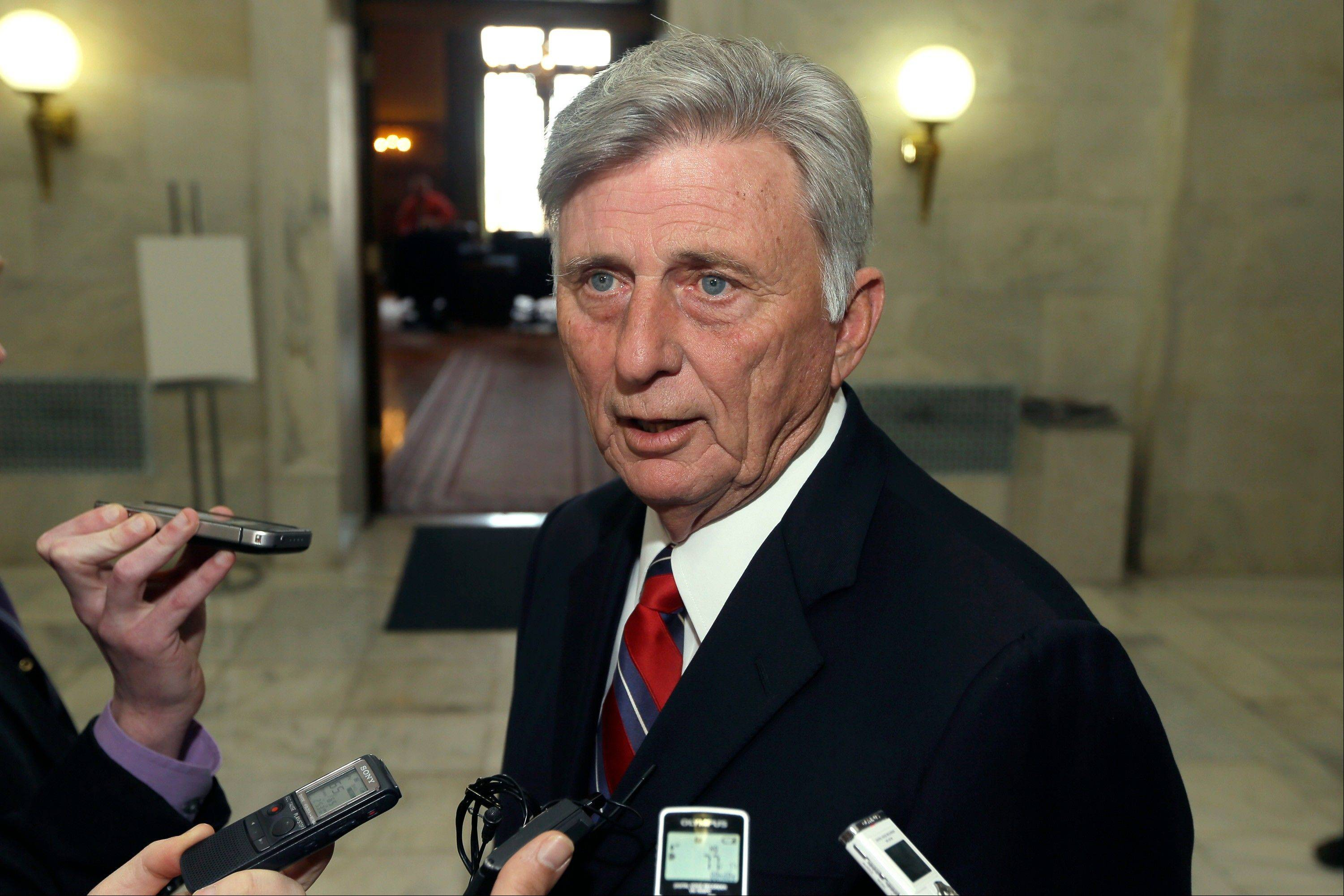 Gov. Mike Beebe speaks to reporters Monday after vetoing legislation that would have banned abortions 12 weeks into a pregnancy. However, his veto was overridden by state legislators Wednesday.