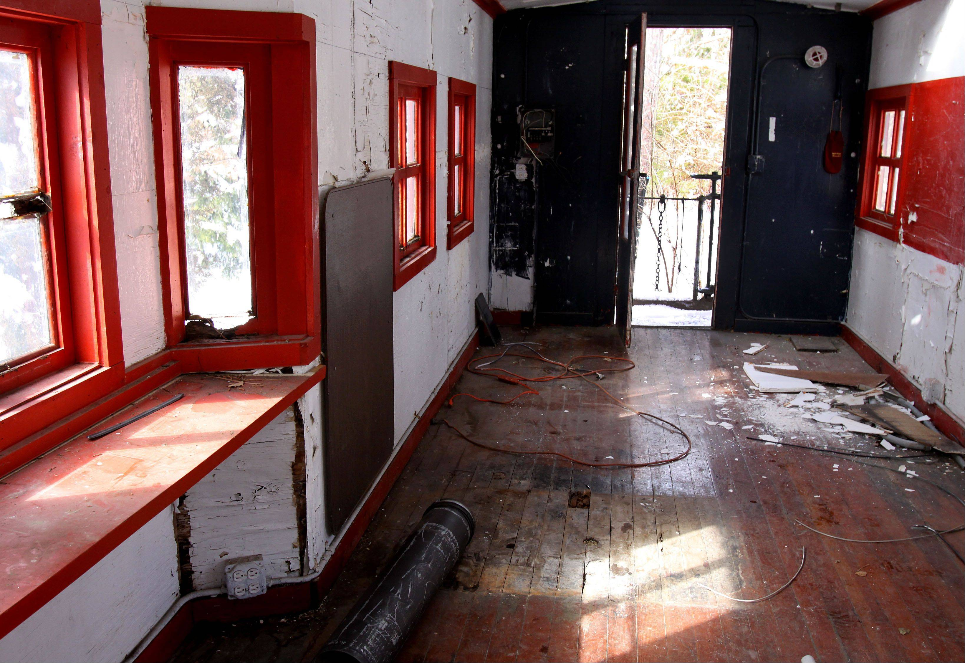 This is a look inside of a caboose that was moved Thursday from a backyard in Itasca to its new home next to the village's historic train depot.