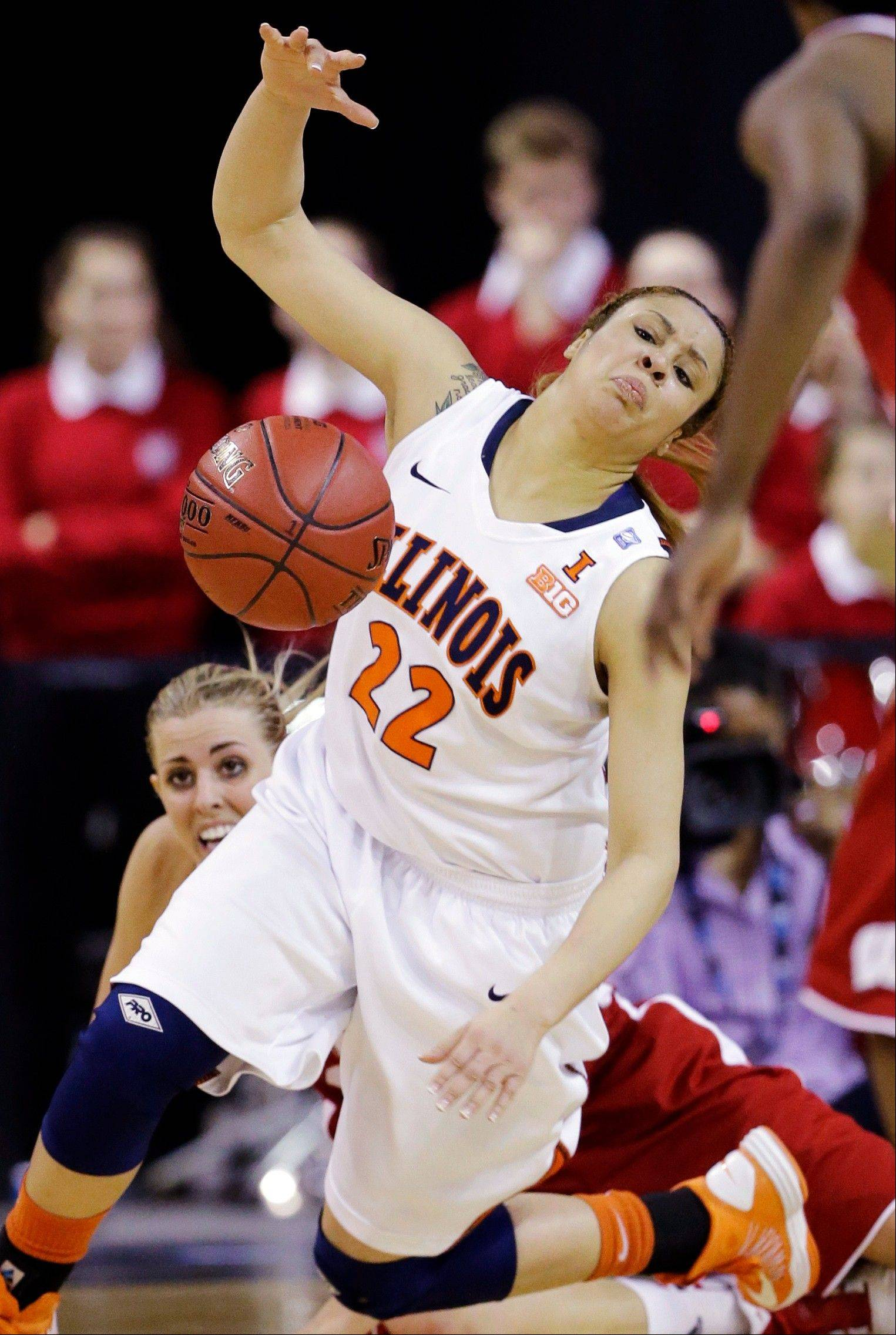 Illinois guard Ivory Crawford loses control of the ball during second-half action Thursday at the Big Ten Women's Basketball Tournament at the Sears Centre in Hoffman Estates. Wisconsin advanced with a 58-57 win.