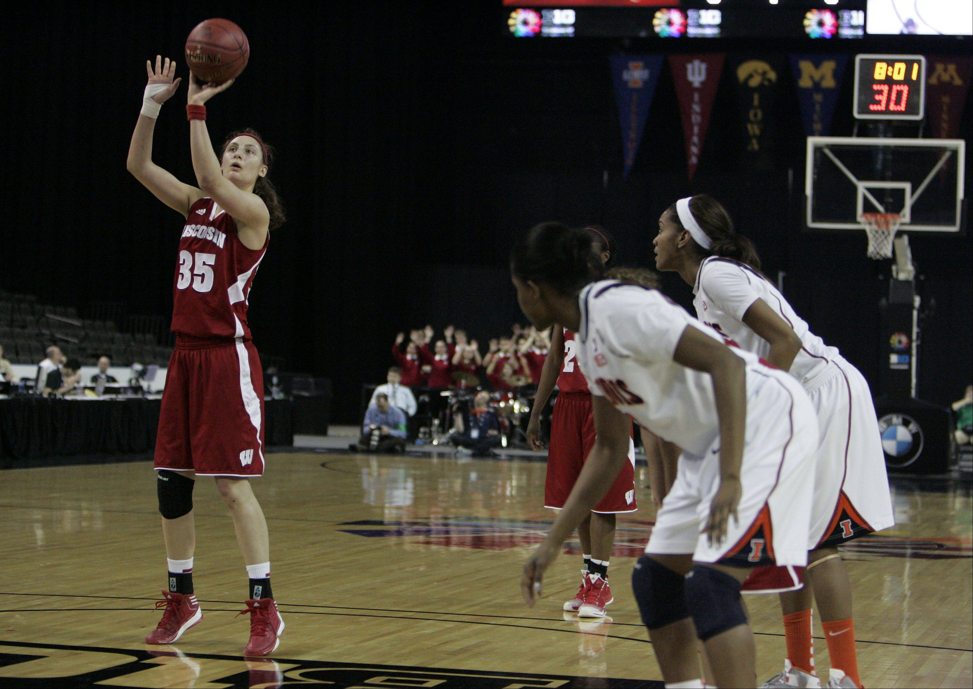 Badgers forward Jacki Gulczynski shoots a free-throw during action Thursday at the Big Ten Women's Basketball Tournament at the Sears Centre in Hoffman Estates. Wisconsin advanced with a 58-57 win.