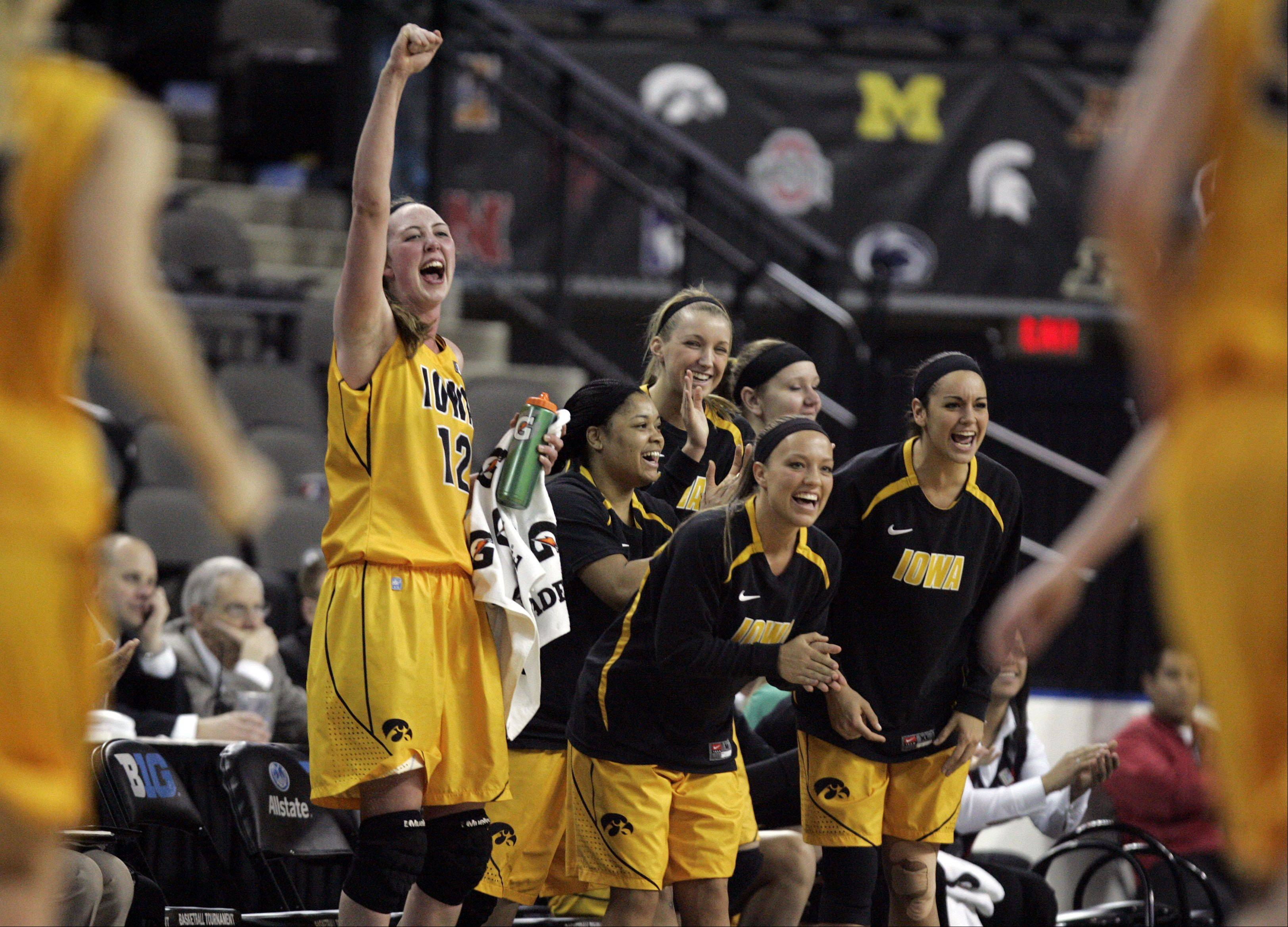 The Iowa bench reacts as the clock winds down during Northwestern vs Iowa action Thursday at the Big Ten Women's Basketball Tournament at the Sears Centre in Hoffman Estates. Iowa led the entire game.