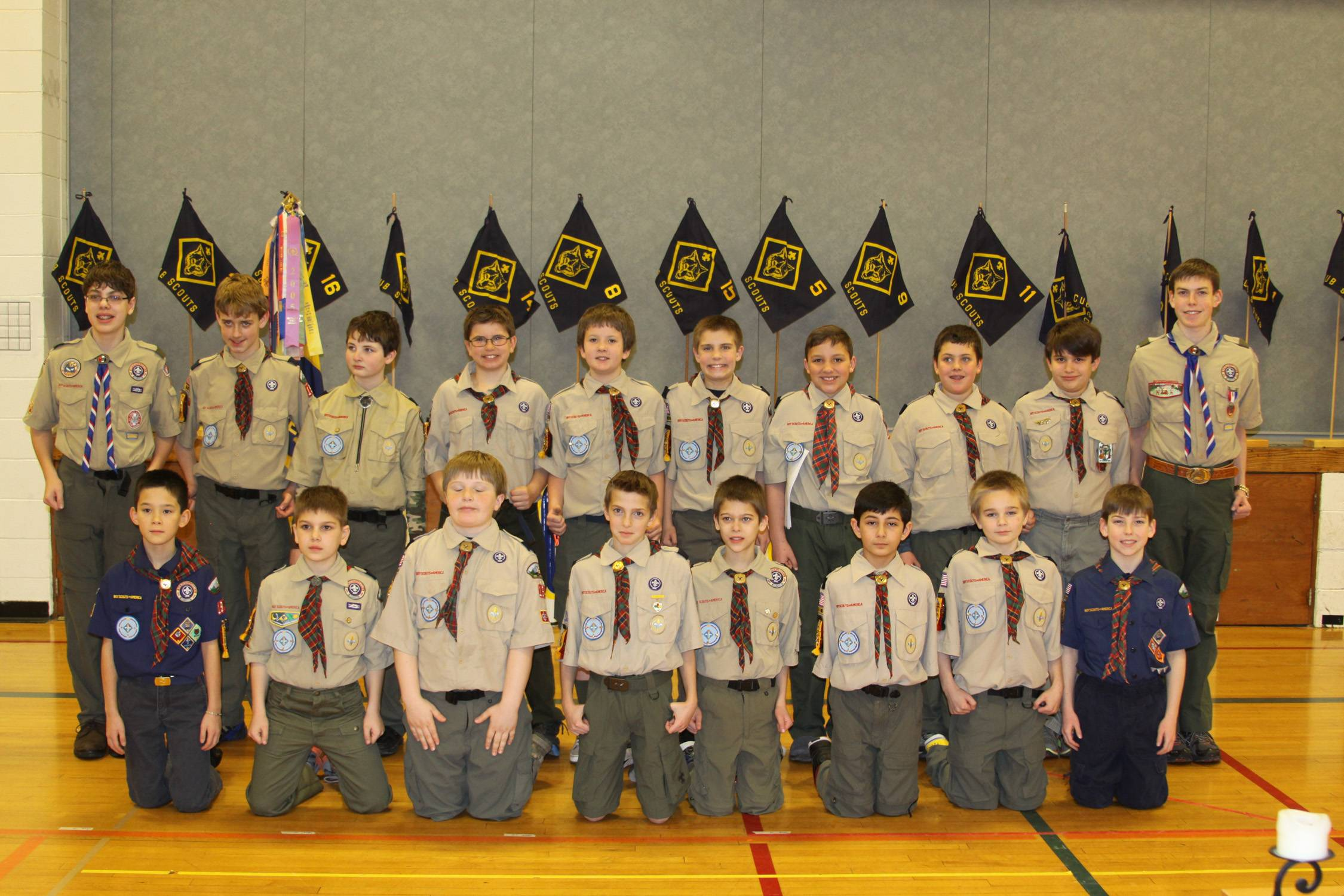 Shown are Pack 194's Webelos IIs who crossed over to Boy Scouts at the pack's 50th anniversary celebration and crossover ceremony. Front row from left: William Salton, Nathan Stevens, Evan Hertzler, Clayton Fayer, Jason Sekili, Kavi Jalota, Chris Mack and Kevin Stone. Back row from left: Den Chief Spencer Stevens, Dylan Buelow, Zachary Giamis, Randy Moss, Scott Sanderson, Jack Calsin, Miles Jajich, Matthew Balmes, Joseph Mattson and Den Chief David Stone.