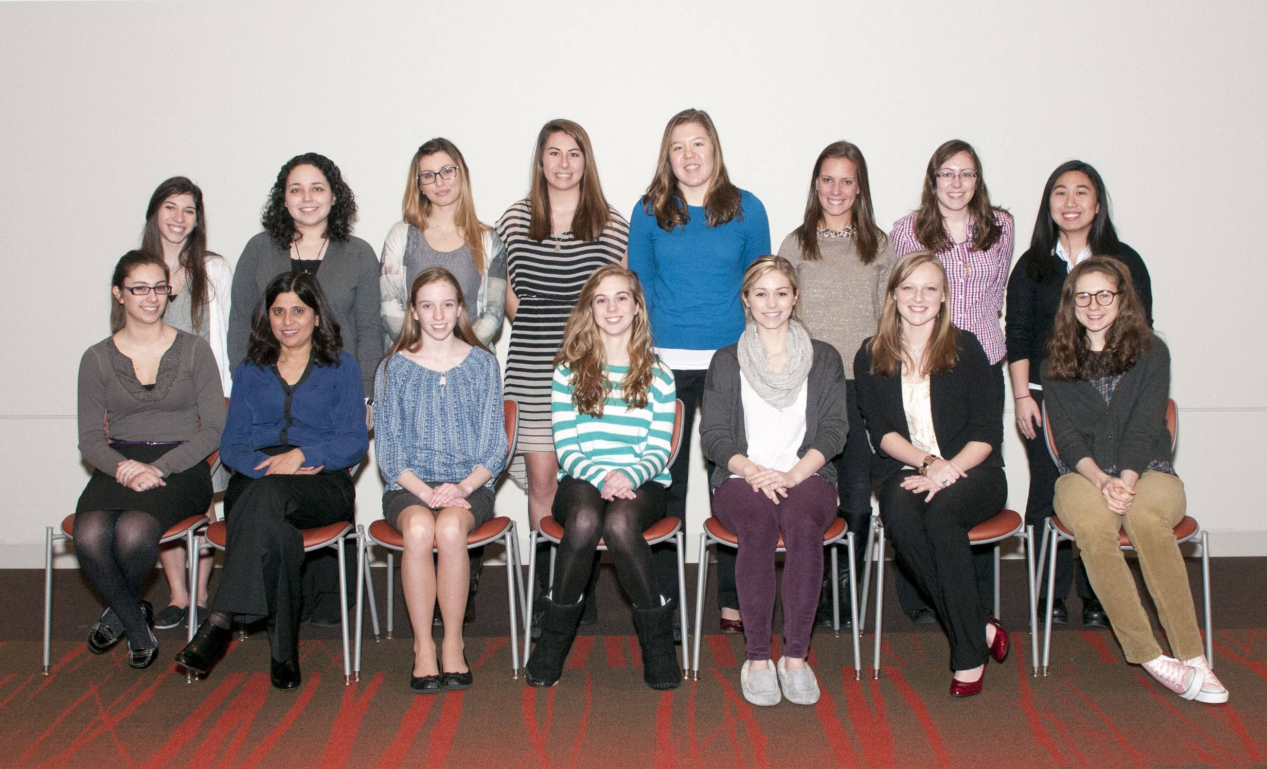 Rosary High School's WYSE Team: (front row, from left) Amalia Mercado, coach Ms. Falguni Soni, Anna Ward, Teresa Zidek, Taylor Vandenberg, Becky Fritz, Tess Fitzsimmons. (Back row, from left) Courtney Cox, Aimee Arvayo, Jesika Barmanbek, Allie Bennett, Amy Seraphin, Molly Piech, Colleen Madlinger, Celine Italia.