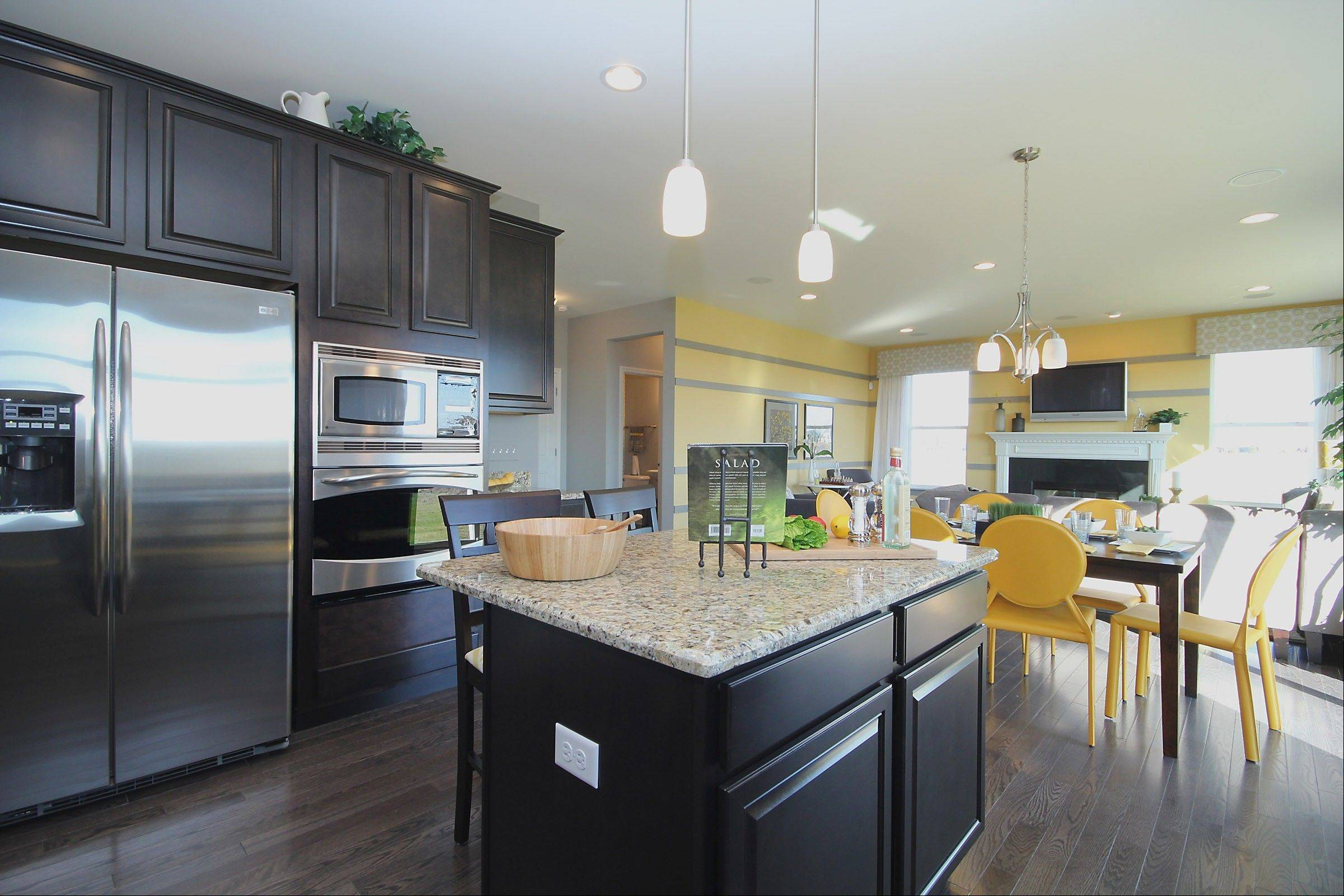 Eleni Interiors of Naperville decorated this kitchen and model for Ryland Homes� Ingham Park community in Aurora.