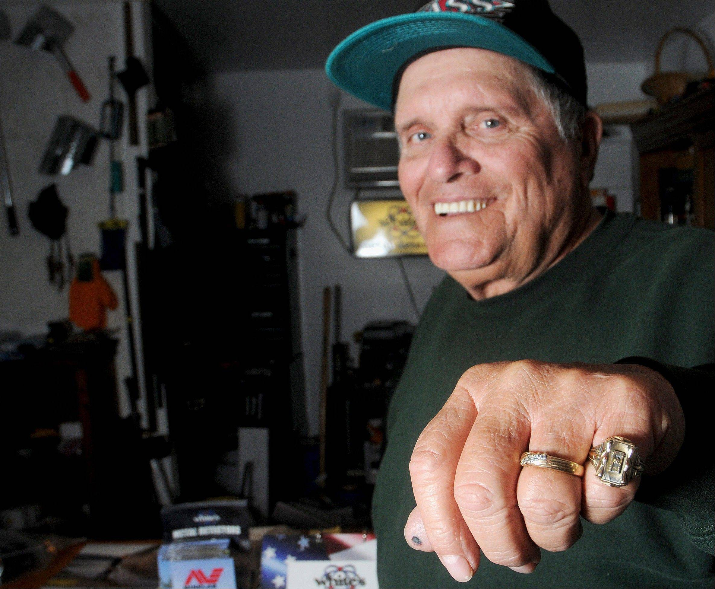 Gary Wade shows off his class ring recently returned to him after it was found by Chris Homoya, in Hurst.