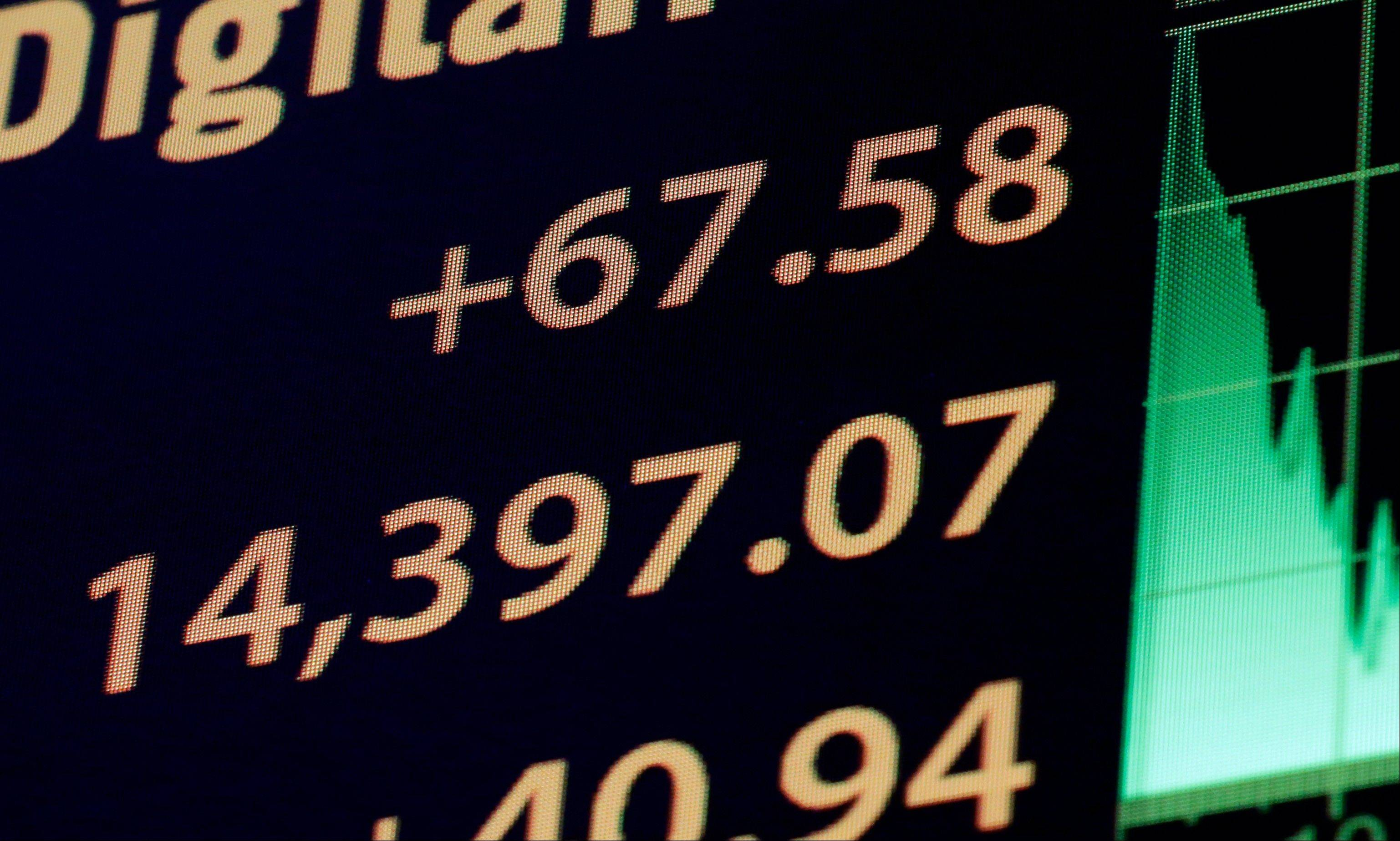 A board on the floor of the New York Stock Exchange shows the closing number Friday for the Dow Jones industrial average.