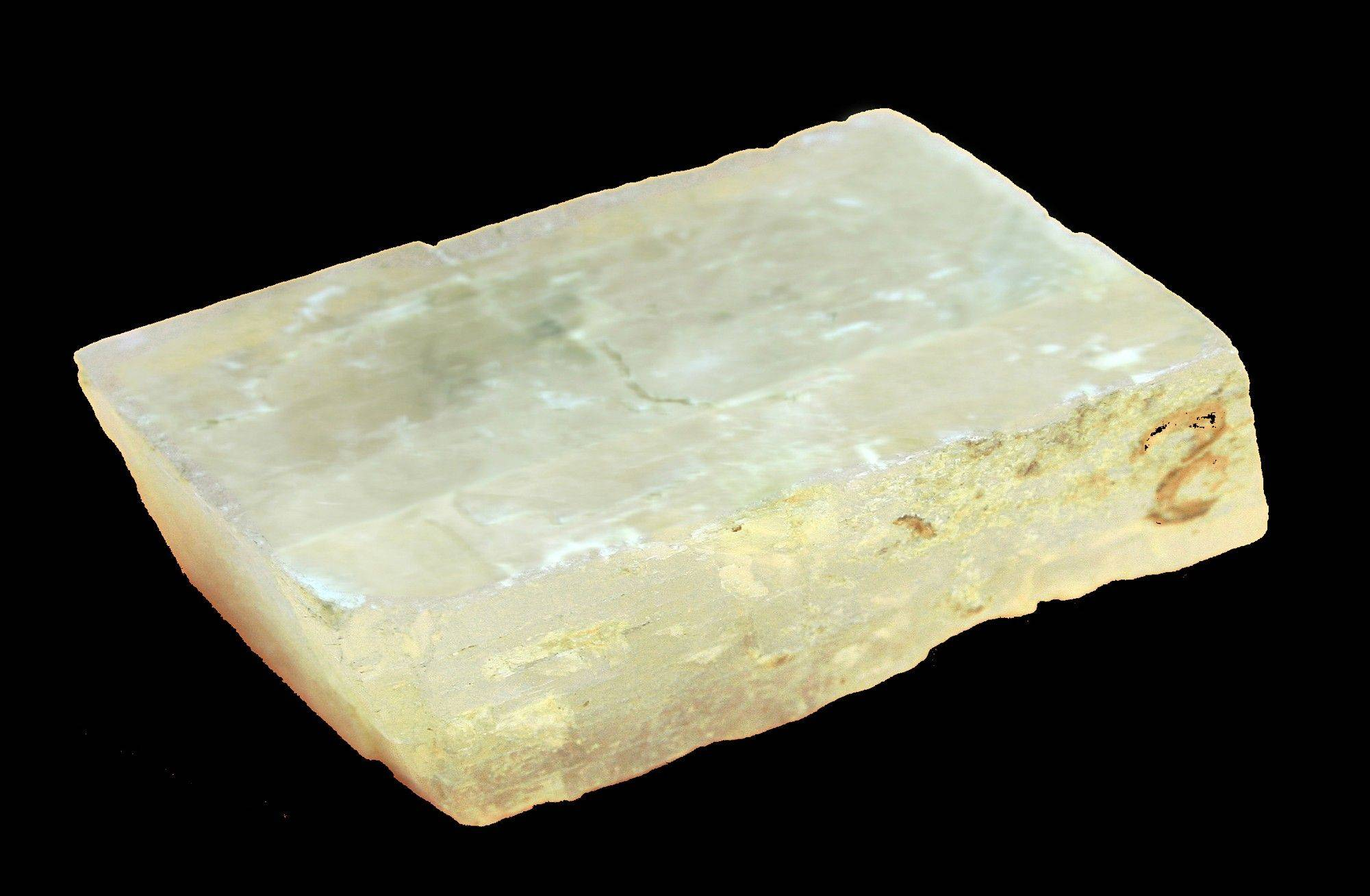 The Alderney Crystal, a piece of calcite. Researchers say the rough, whitish crystal recovered from the wreckage of 16th century English warship may be a sunstone.