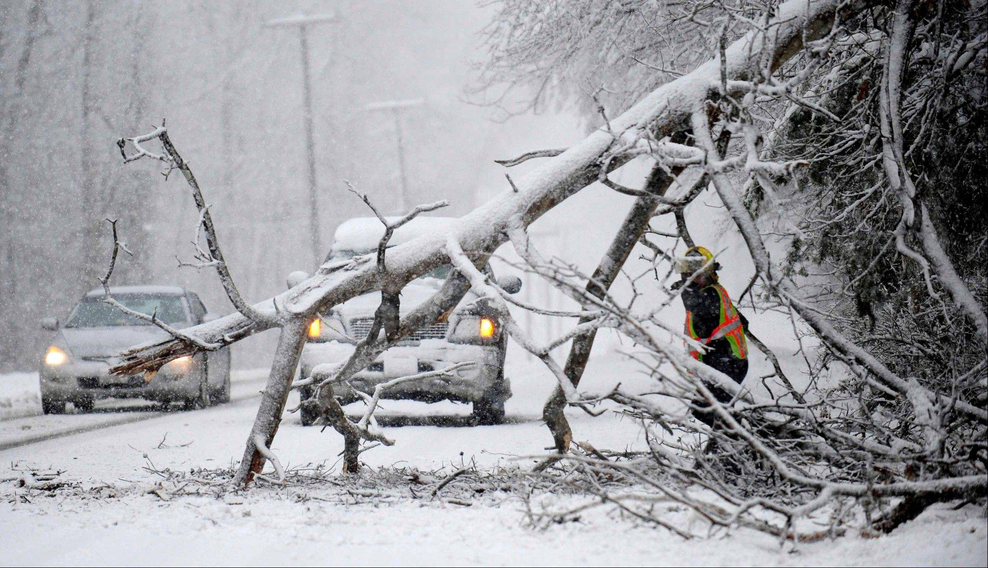 Volunteers remove a downed tree on the road near Chancellorsville, Va. A snowstorm blanketed the Fredericksburg region on March 6, 2013, closing schools, county governments and roads.