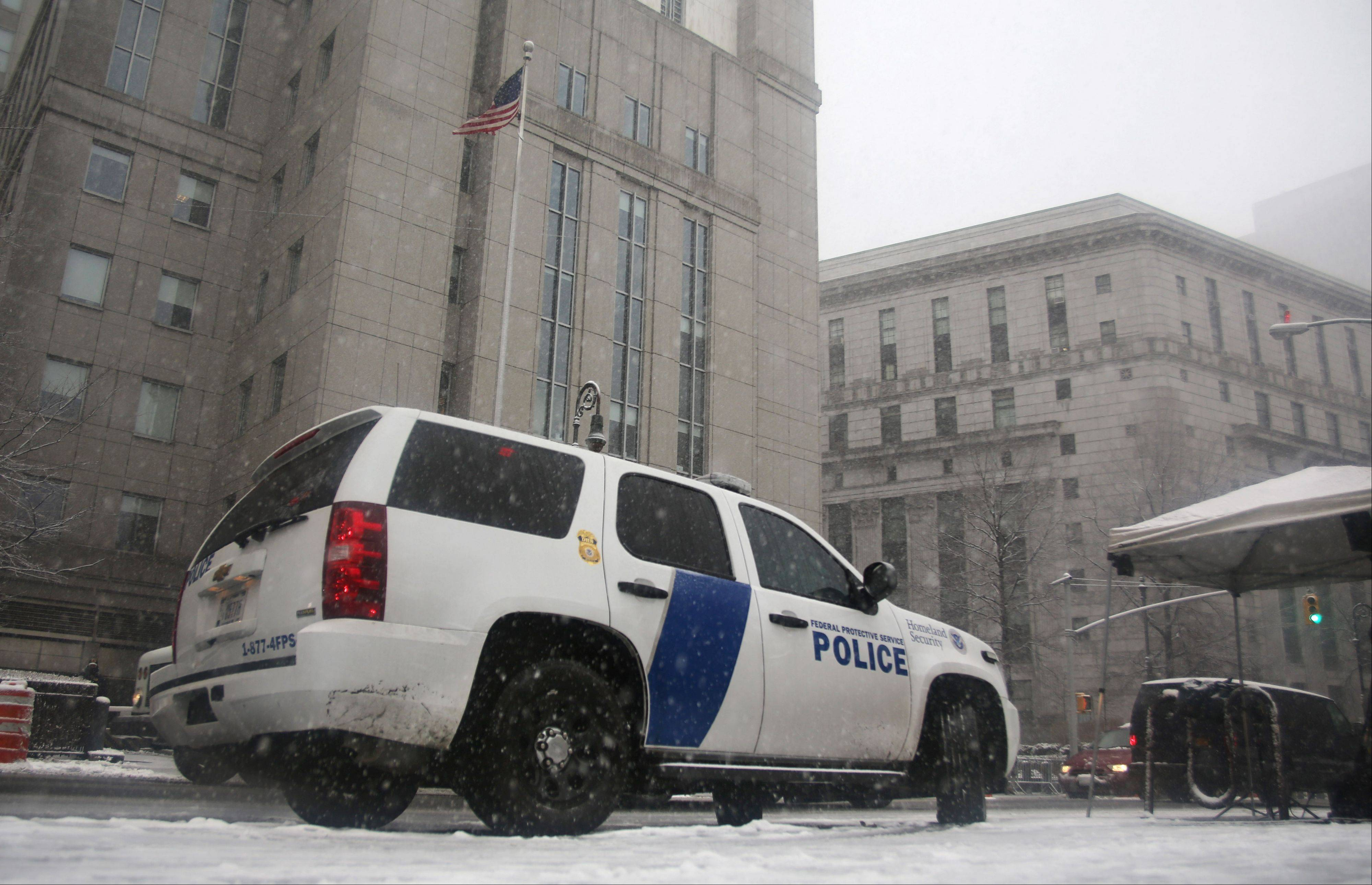 A Homeland Security vehicle sits in front of a federal court in New York on March 8, 2013, where Sulaiman Abu Ghaithwhere, a senior al-Qaida leader and son-in-law of Osama bin Laden, pleaded not guilty to plotting against Americans in his role as the terror network's top spokesman. The case marks a legal victory for the Obama administration, which has long sought to charge senior al-Qaida suspects in U.S. federal courts instead of holding them at the military detention center at Guantanamo Bay, Cuba.