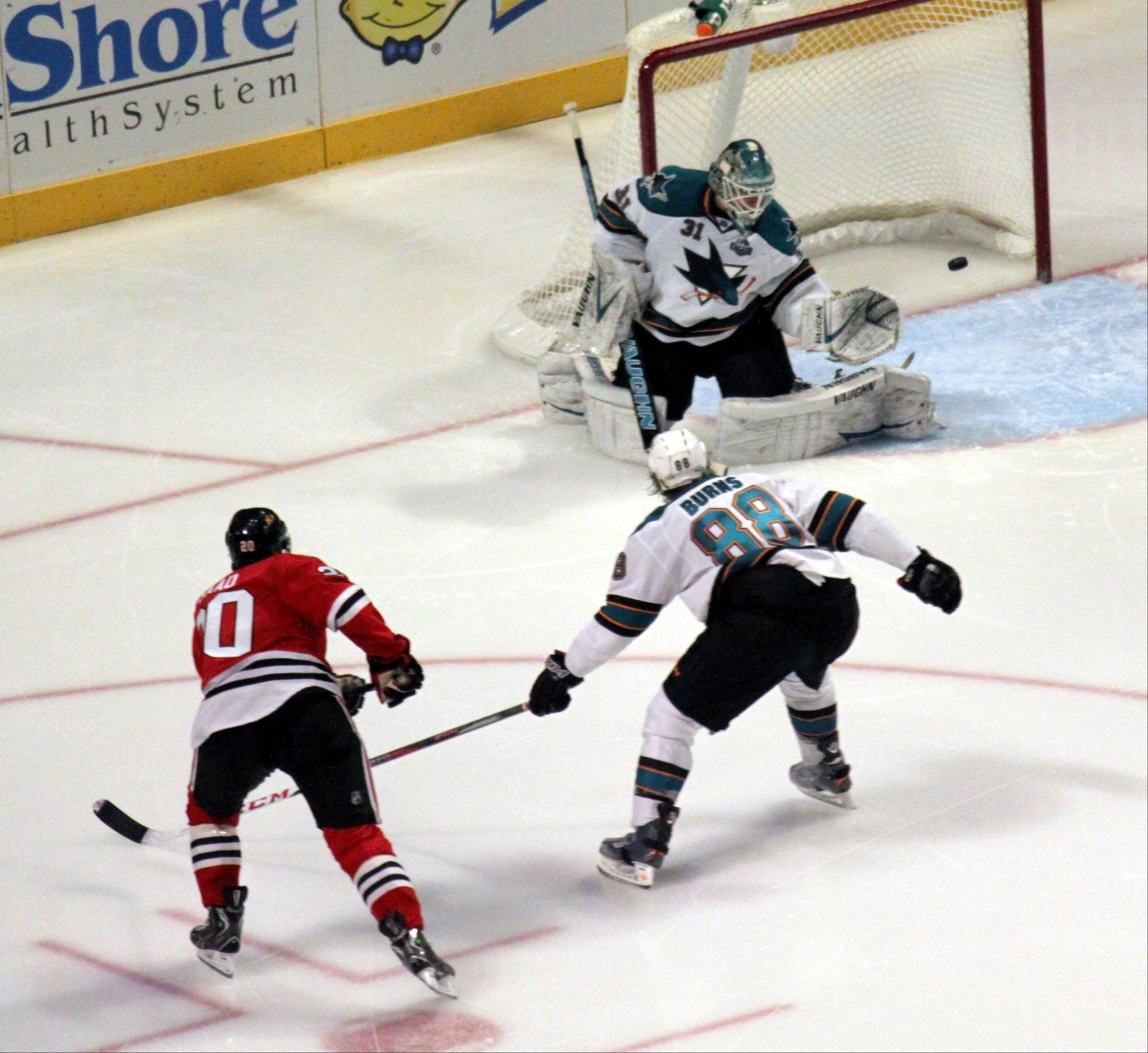 Brandon Saad scores the game winning goal on February 22nd during the Chicago Blackhawks vs. San Jose Sharks game at the United Center. The Hawks have set the record for most games to start a season without a loss in regulation time.