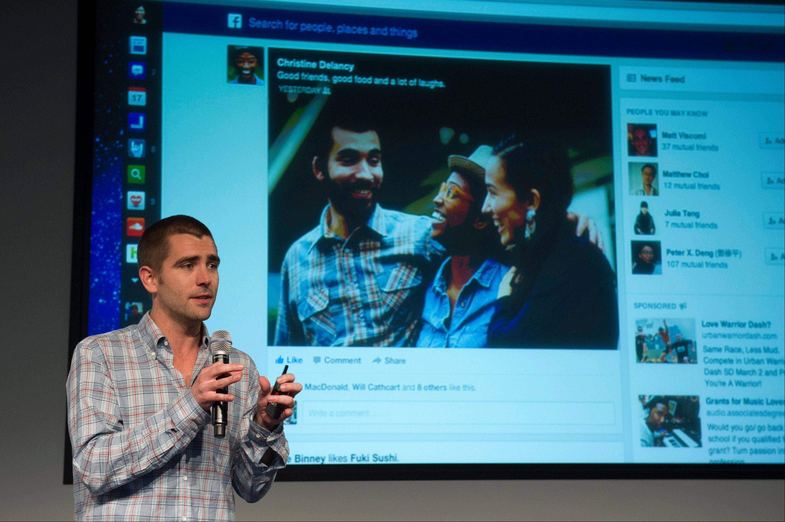 Chris Cox, vice president of product for Facebook Inc., speaks during an event at the company's headquarters in Menlo Park, California, U.S., on Thursday, March 7, 2013. Mark Zuckerberg, chief executive officer and founder of Facebook Inc., discussed the social-network site's upgraded News Feed which includes bigger photos, information sorted into topics and a more consistent design across devices. Photographer: David Paul Morris/Bloomberg *** Local Caption *** Chris Cox