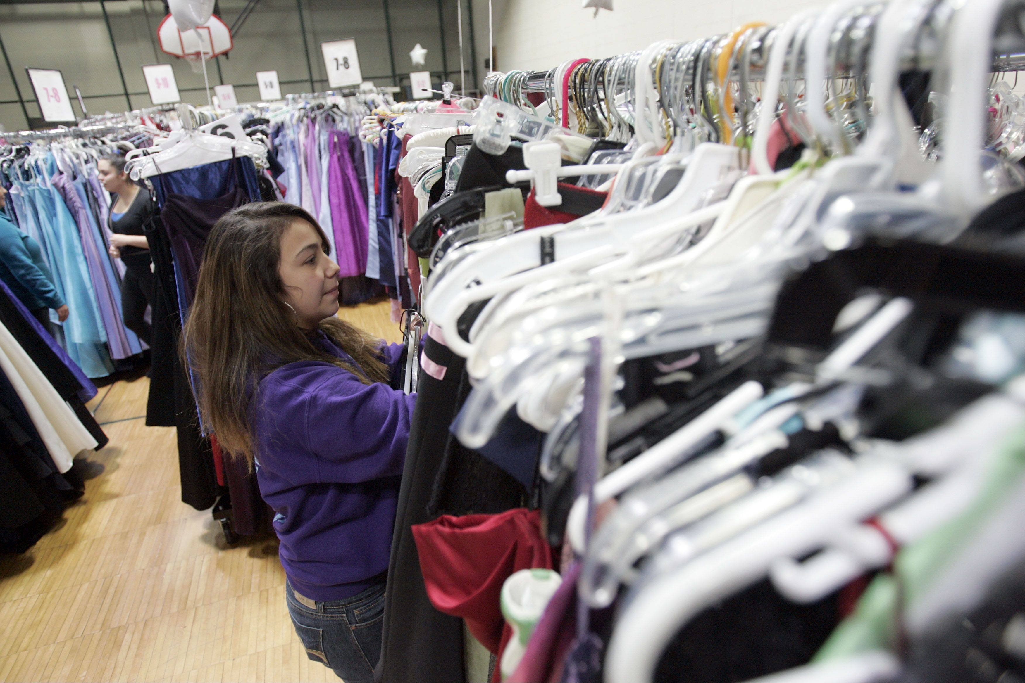 Looking for just the right dress, 15-year-old Karina Robledo of Elgin searches through some of the 4,000 options during the annual Cinderella�s Closet event Saturday at the YWCA in Elgin.