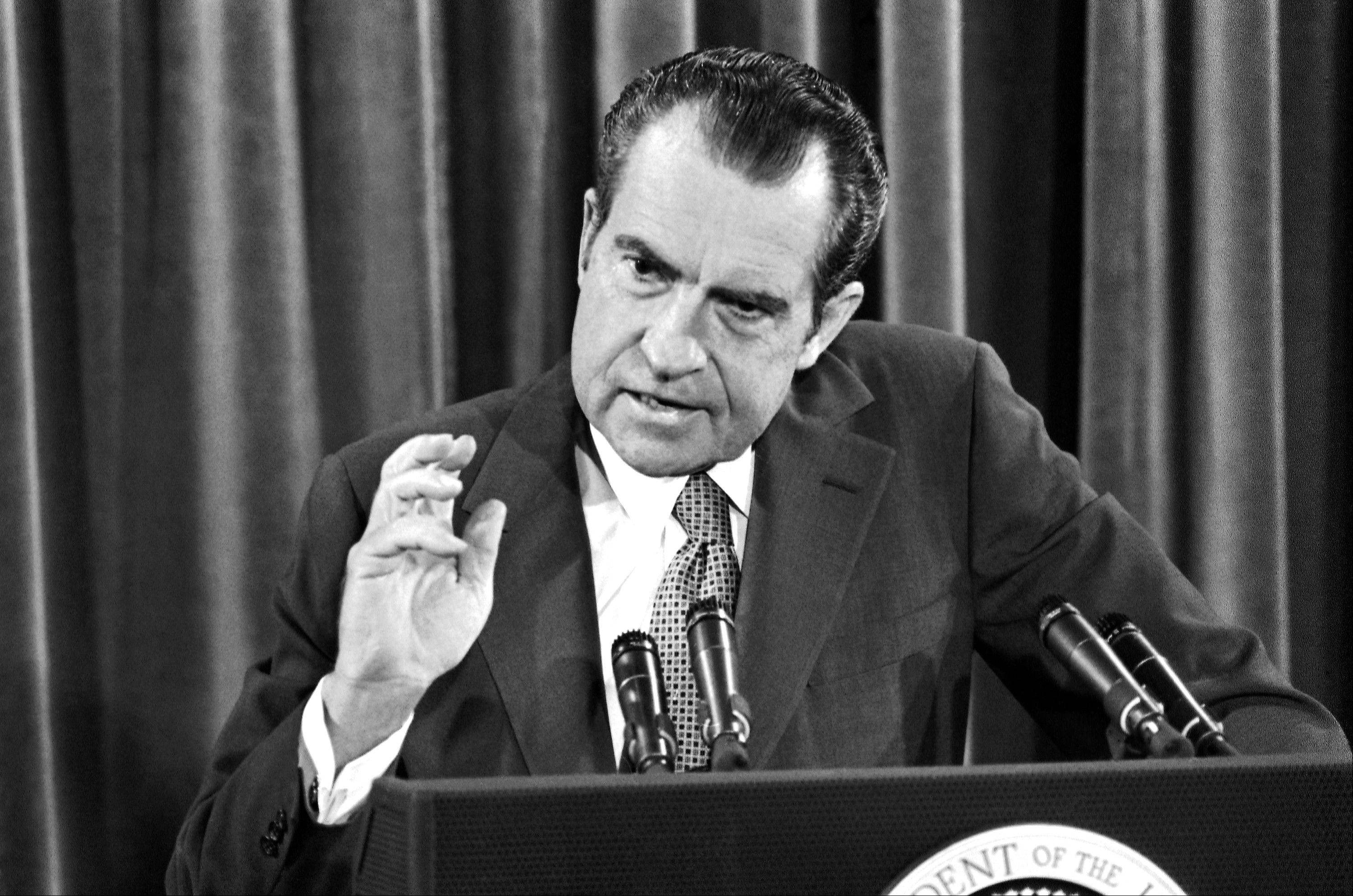 President Richard Nixon speaks at a White House news conference in Washington during which he said he�d sign legislation banning Saturday night specials.