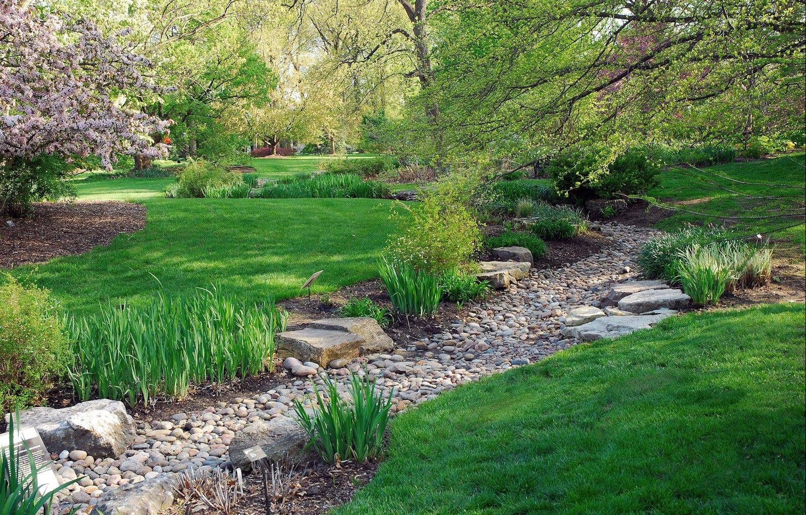 A dry creek bed is one of the ways the Missouri Botanical Gardens manages water-runoff.