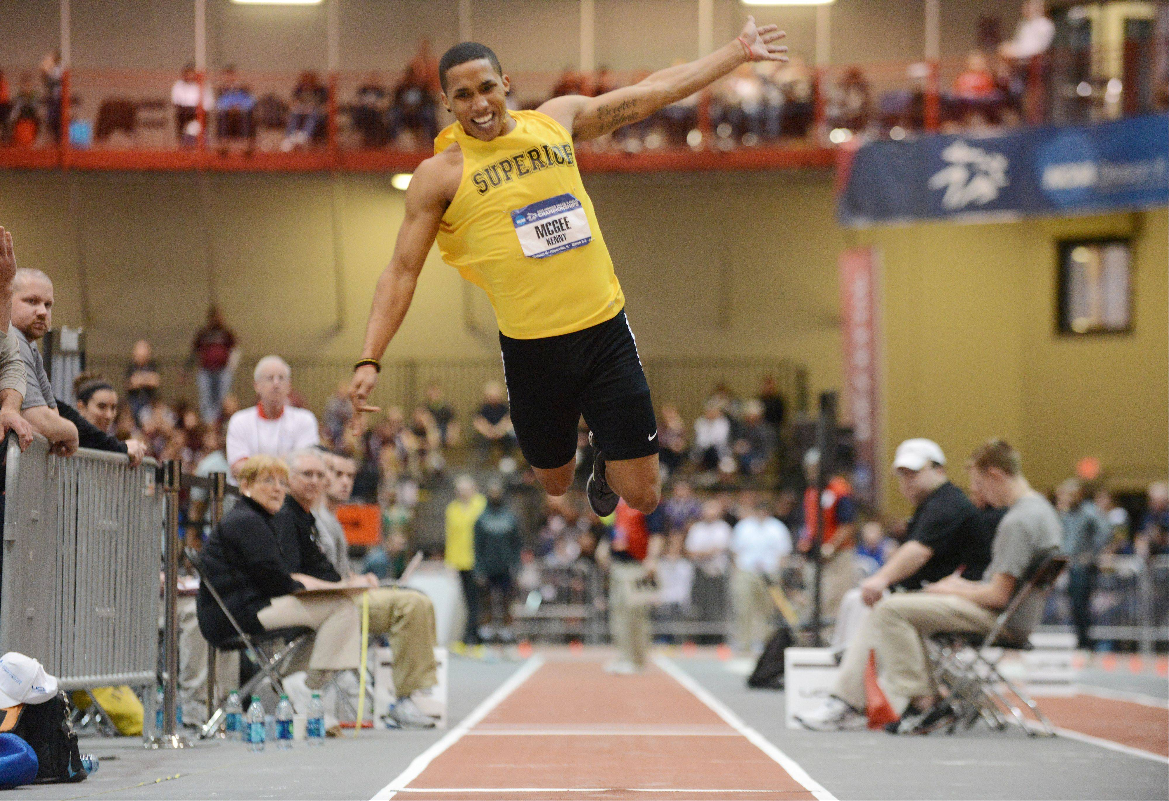 Kenny McGee of the University of Wisconsin-Superior takes flight during the triple jump Saturday at the NCAA Division III Indoor Track and Field Championships at North Central College.