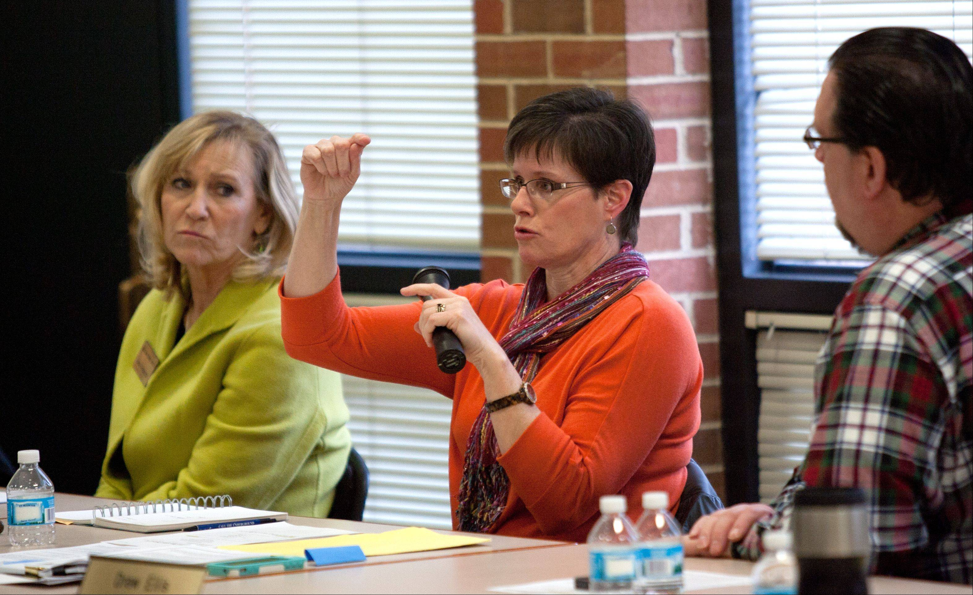 School board President Erica Nelson, center, addresses concerns Saturday during the Glen Ellyn District 41 community forum on the controversial Think Tank proposal.