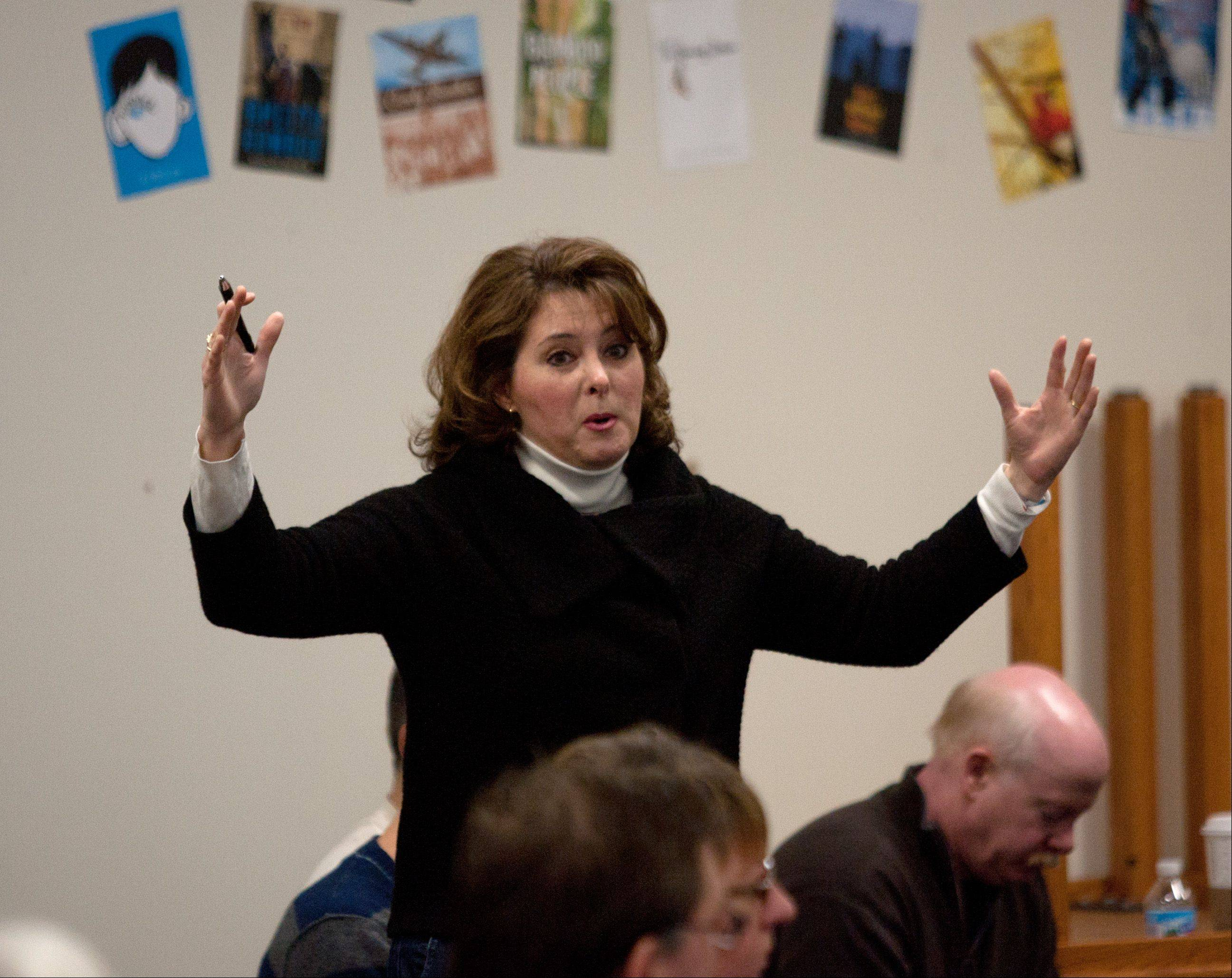 Nicole Brisson of Glen Ellyn shares her thoughts at Saturday's Glen Ellyn District 41 forum.