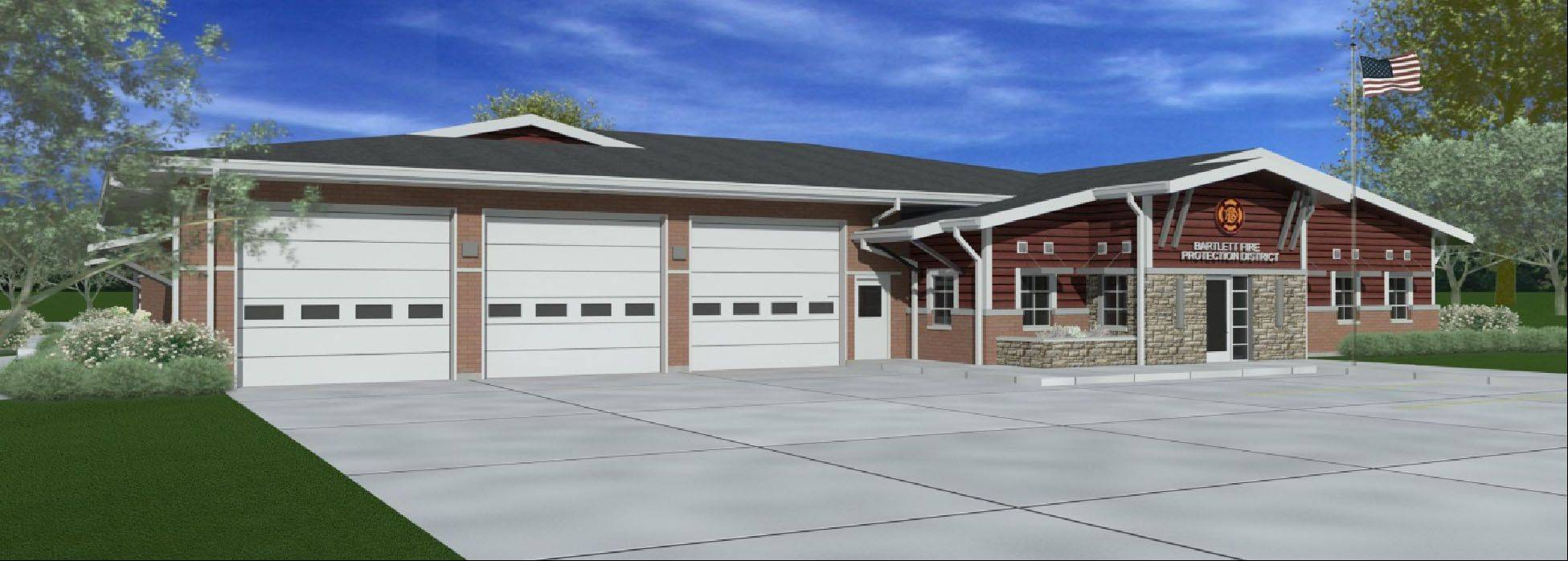 This is a rendering of what Bartlett Fire Protection District Station 2, at 501 Struckman Road, will look like after renovations expand the office and living quarters by about 75 percent at a cost of about $2.3 million.