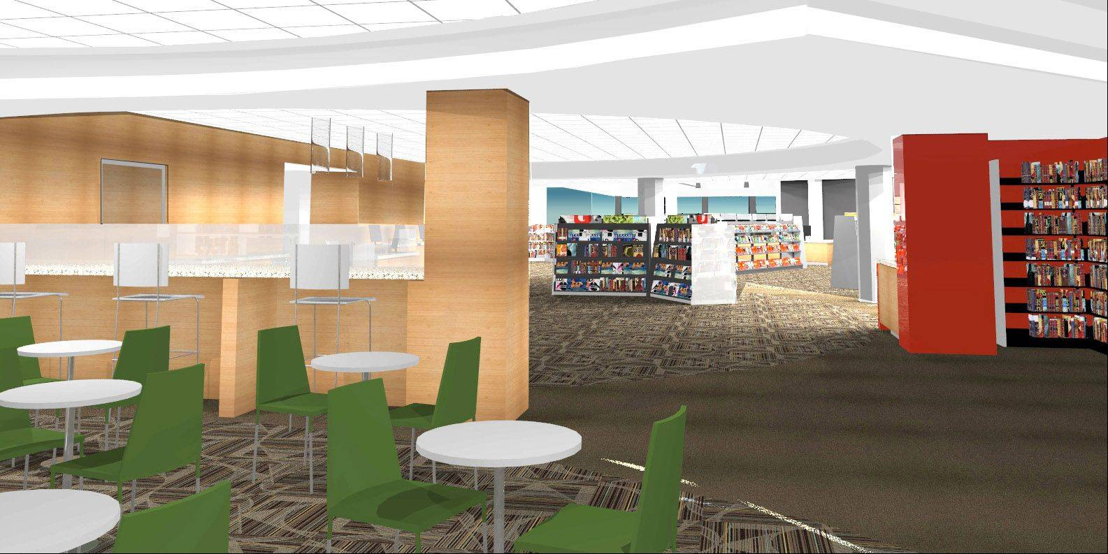 Artist's rendering of cafe, which will be part of the Vernon Area Public Library's renovation project in Lincolnshire.