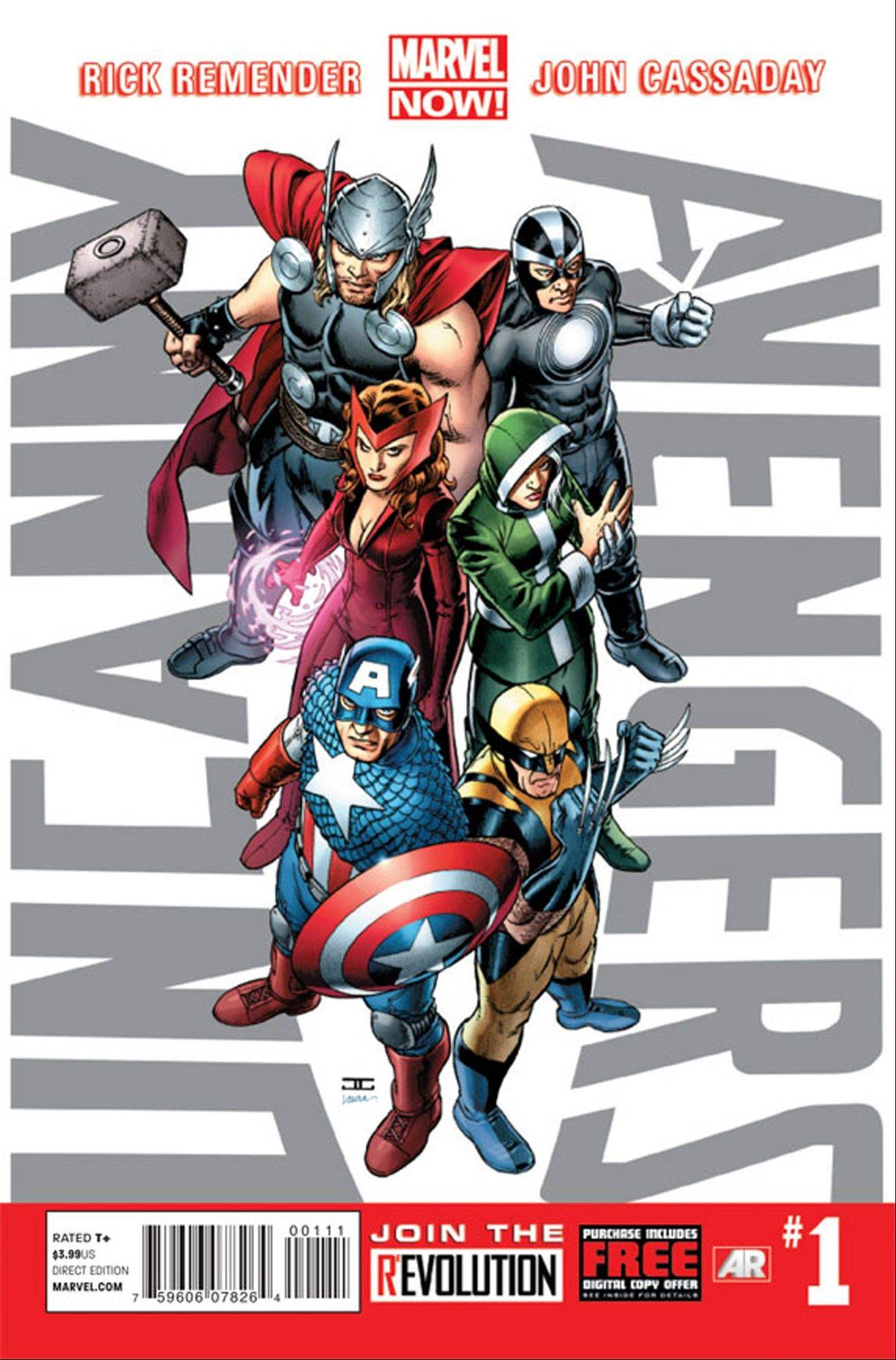 This image provided by Marvel Entertainment shows the cover of the first issue of �Uncanny Avengers.� Marvel, home to the Fantastic Four, the X-Men and the Avengers, among others, made more than 700 first issues available to digital readers on Sunday via its app and website.