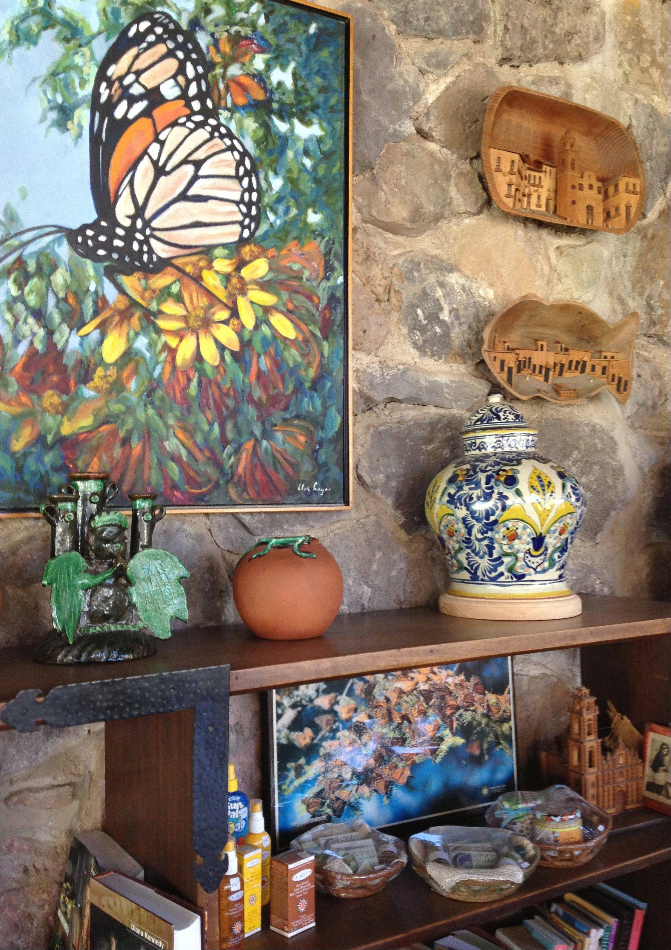 A painting of a Monarch butterfly is displayed in the reception area of Rancho San Cayetano, a hotel near near Zitacuaro, in the central Mexican state of Michoacan.