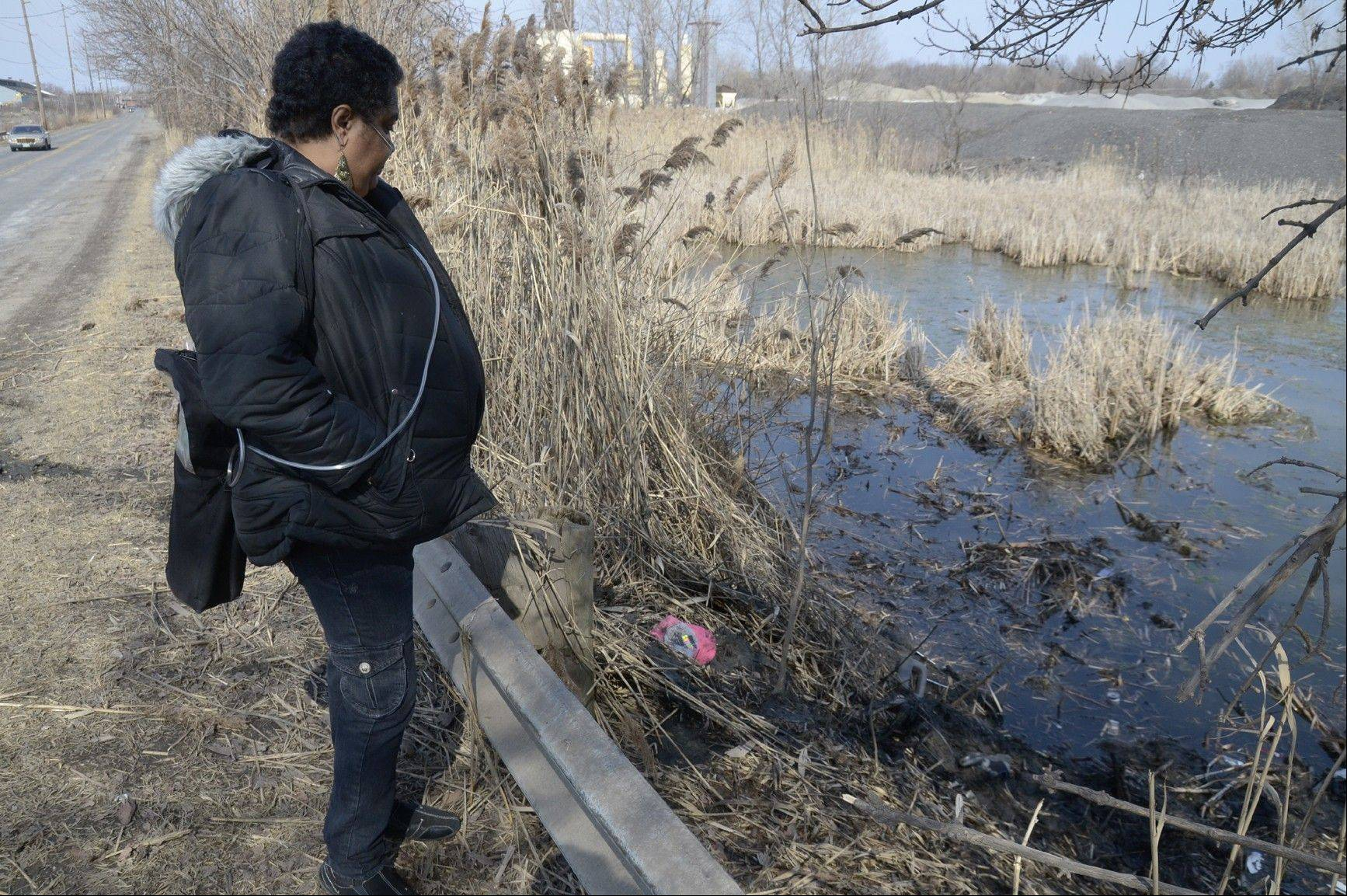 Carol Trimble of Warren, a family member of the victims, views the pond in Warren, Ohio, where police said six teens were killed in the crash Sunday.