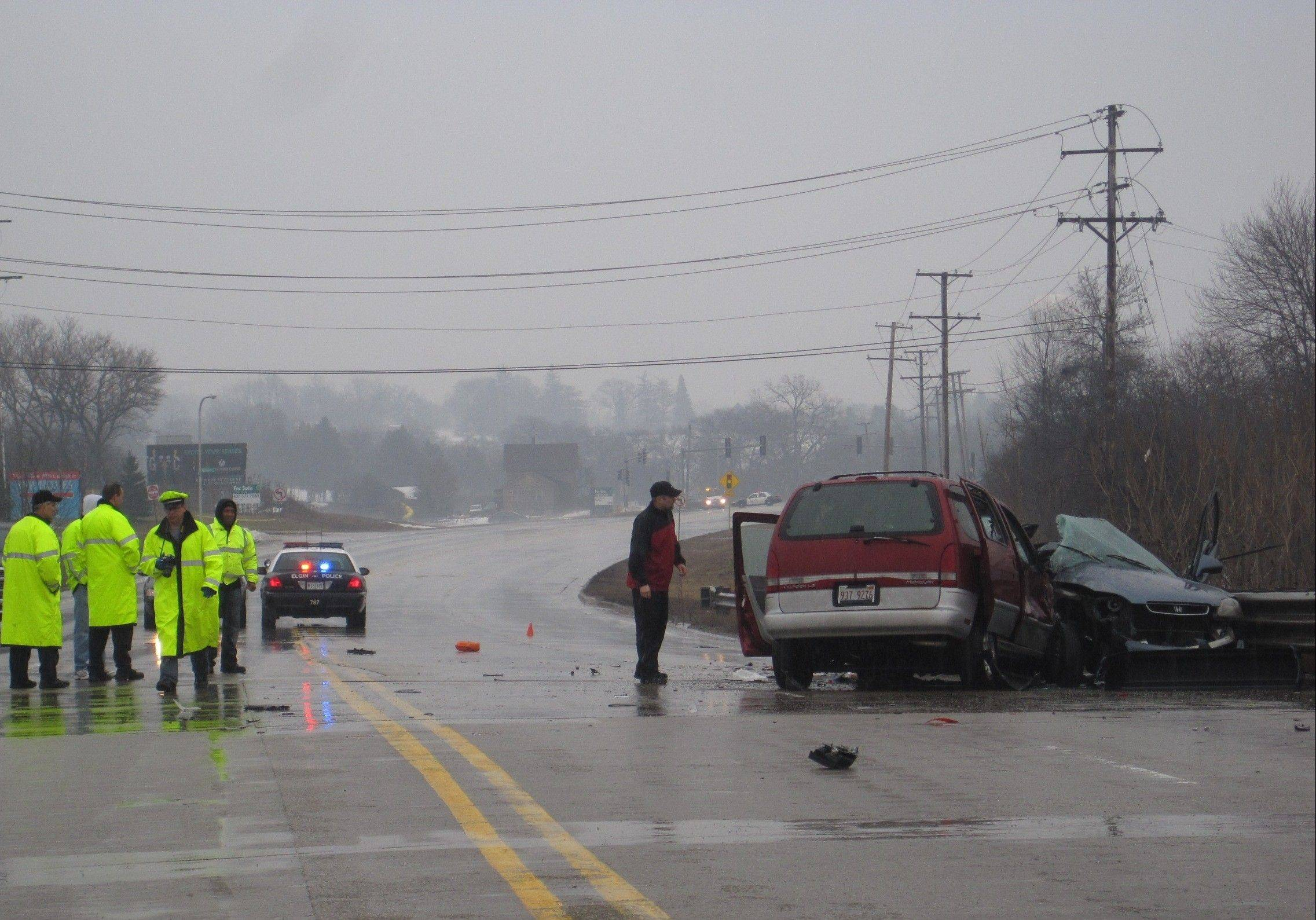 A man was killed and a woman severely injured Sunday afternoon when a car and minivan collided on Route 20 in Elgin. Police said it appears the car veered into oncoming traffic before the fatal crash.