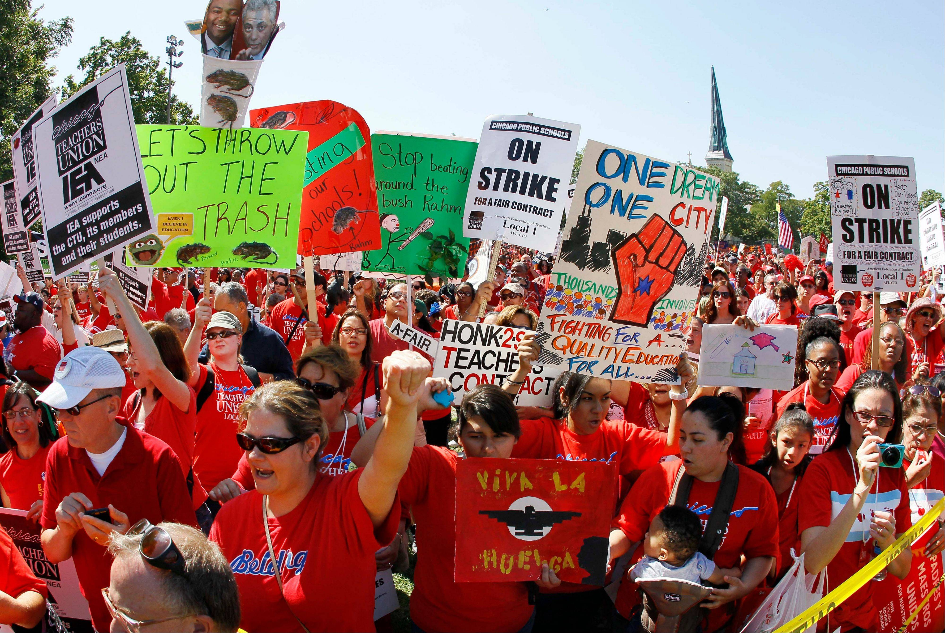 Striking Chicago school teachers rally on Sept. 15, 2012.