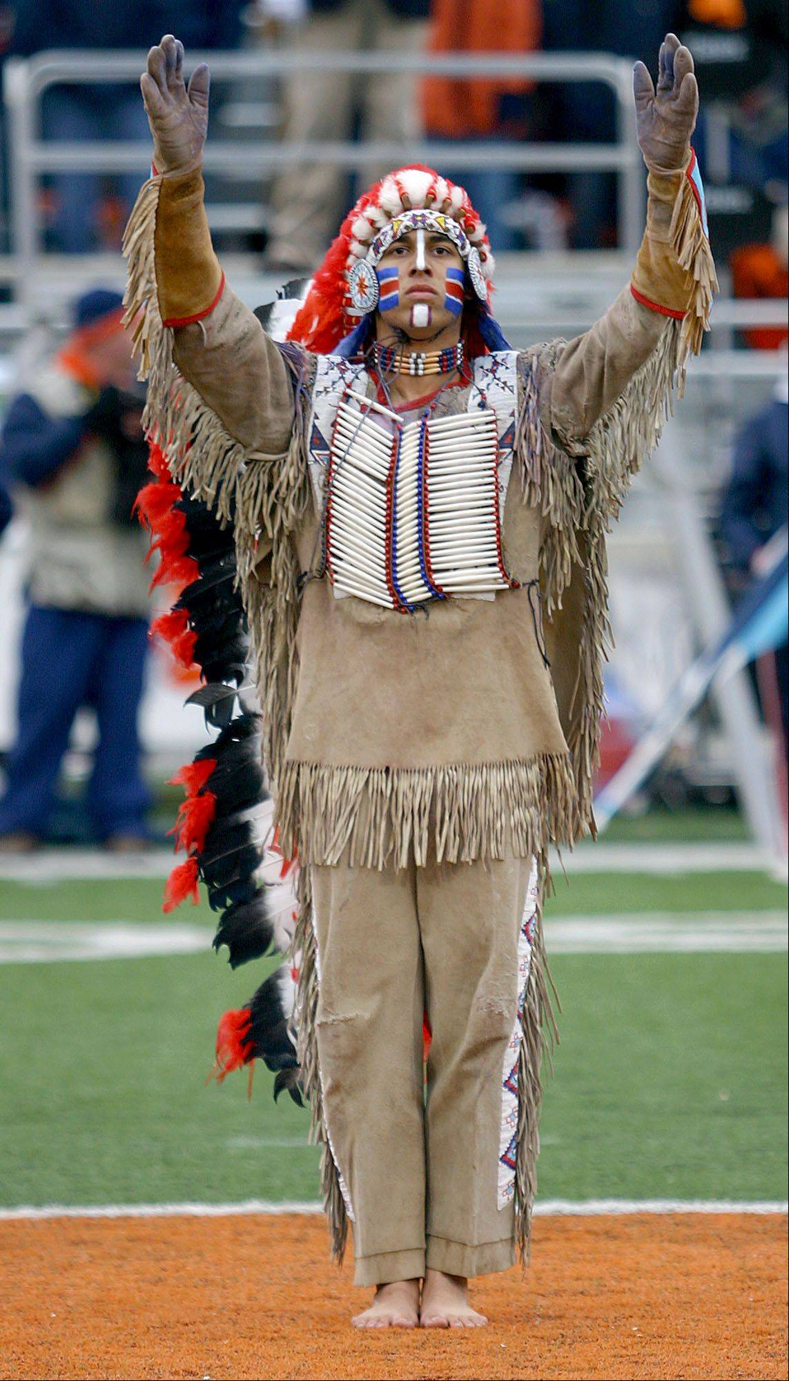 In his last appearance at halftime of a University of Illinois football game in 2006, Chief Illiniwek Logan Ponce poses at Memorial Stadium in Champaign. Facing NCAA sanctions, the school retired the controversial Chief in 2007.