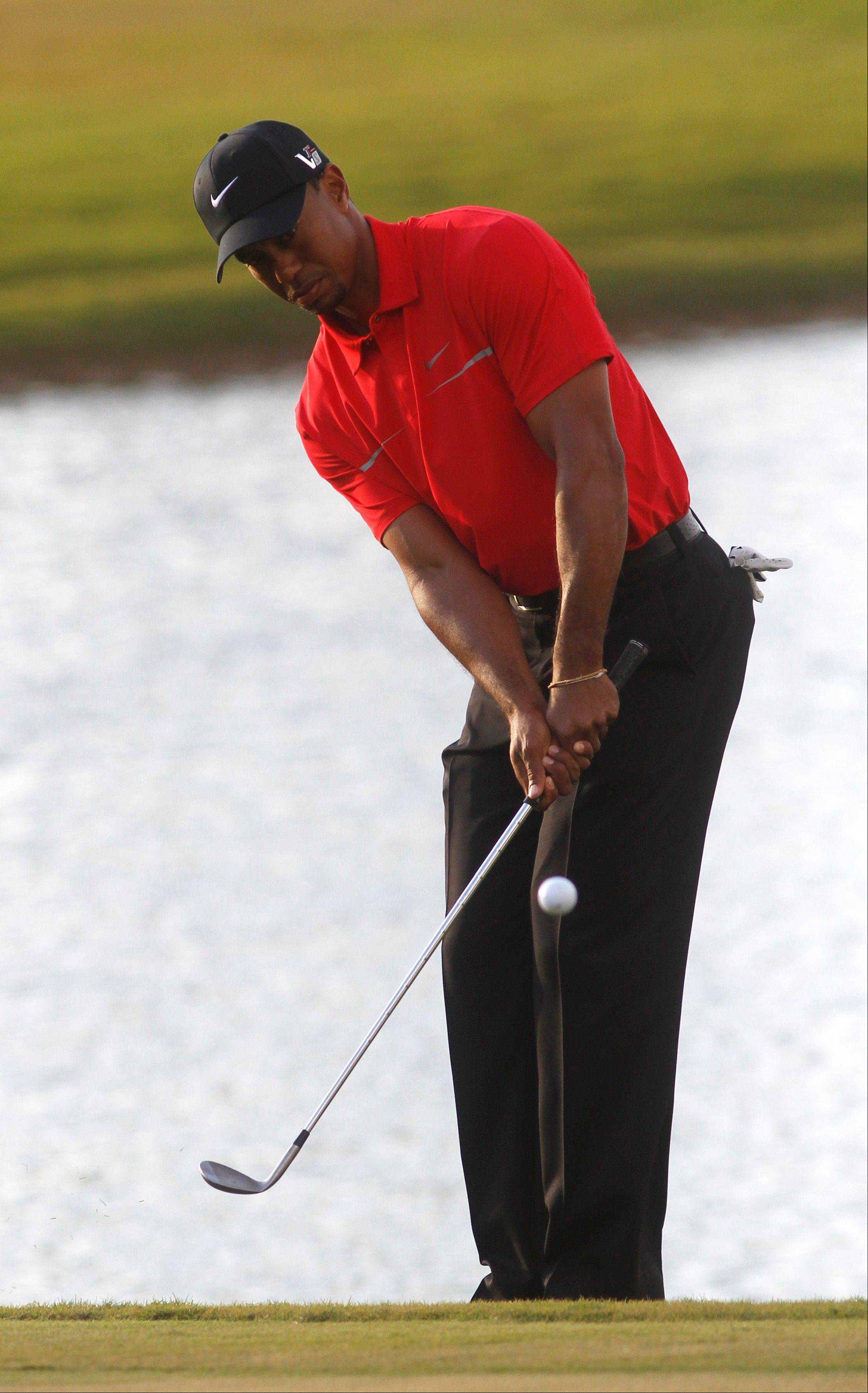Tiger Woods hits from the rough on the 18th holde during the third round of the Cadillac Championship golf tournament Sunday, March 10, 2013, in Doral, Fla. Woods won the Cadillac Championship with a score 19-under-par 269.