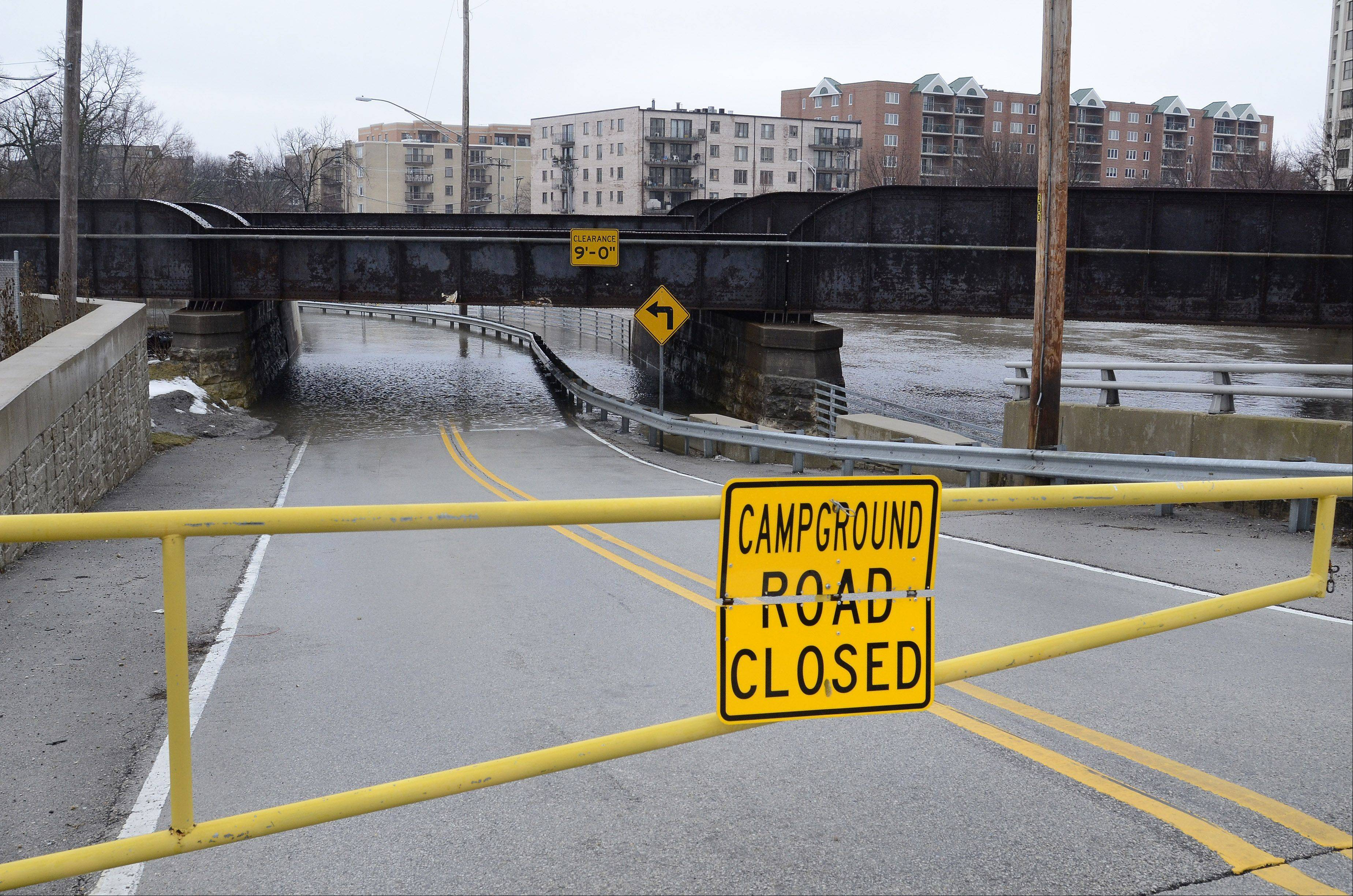 Campground Road in Des Plaines is closed along the Des Plaines River.