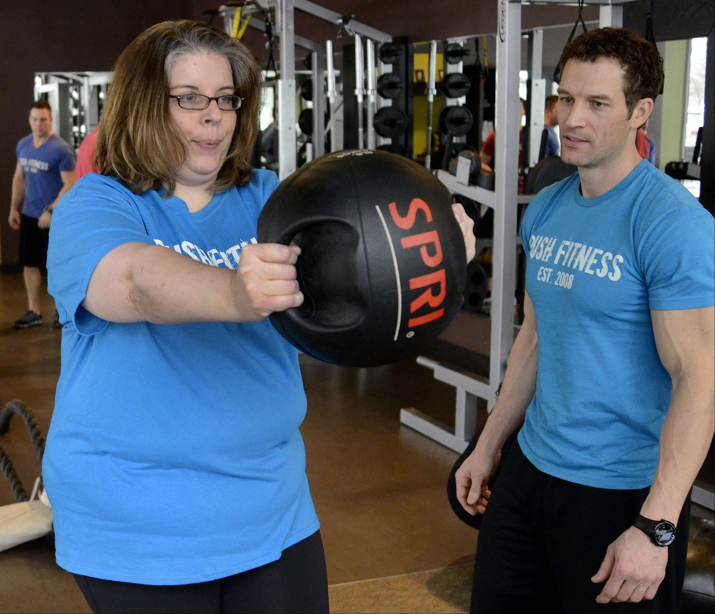 Look! It's my trainer Josh and me, and I'm practicing!