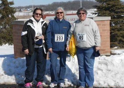 Mundelein's Park View Fittest team members, from left, Rita Kipp, Barbara Daudelin and Amy Eiserman took part in the Frosty Footrace 5-K.