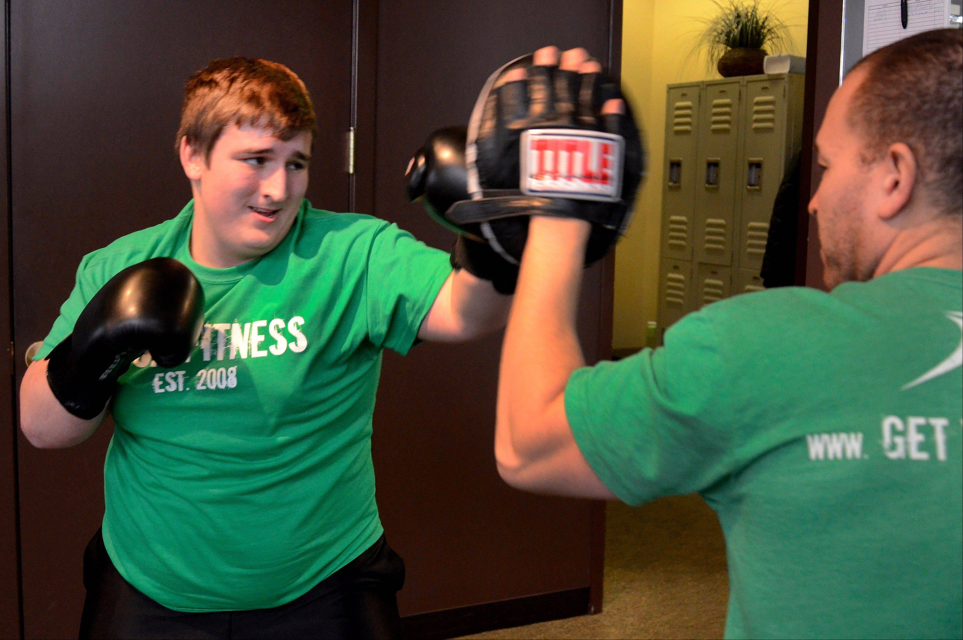 Boxing is Joe Gundling's favorite workout with trainer Tony Figueroa.