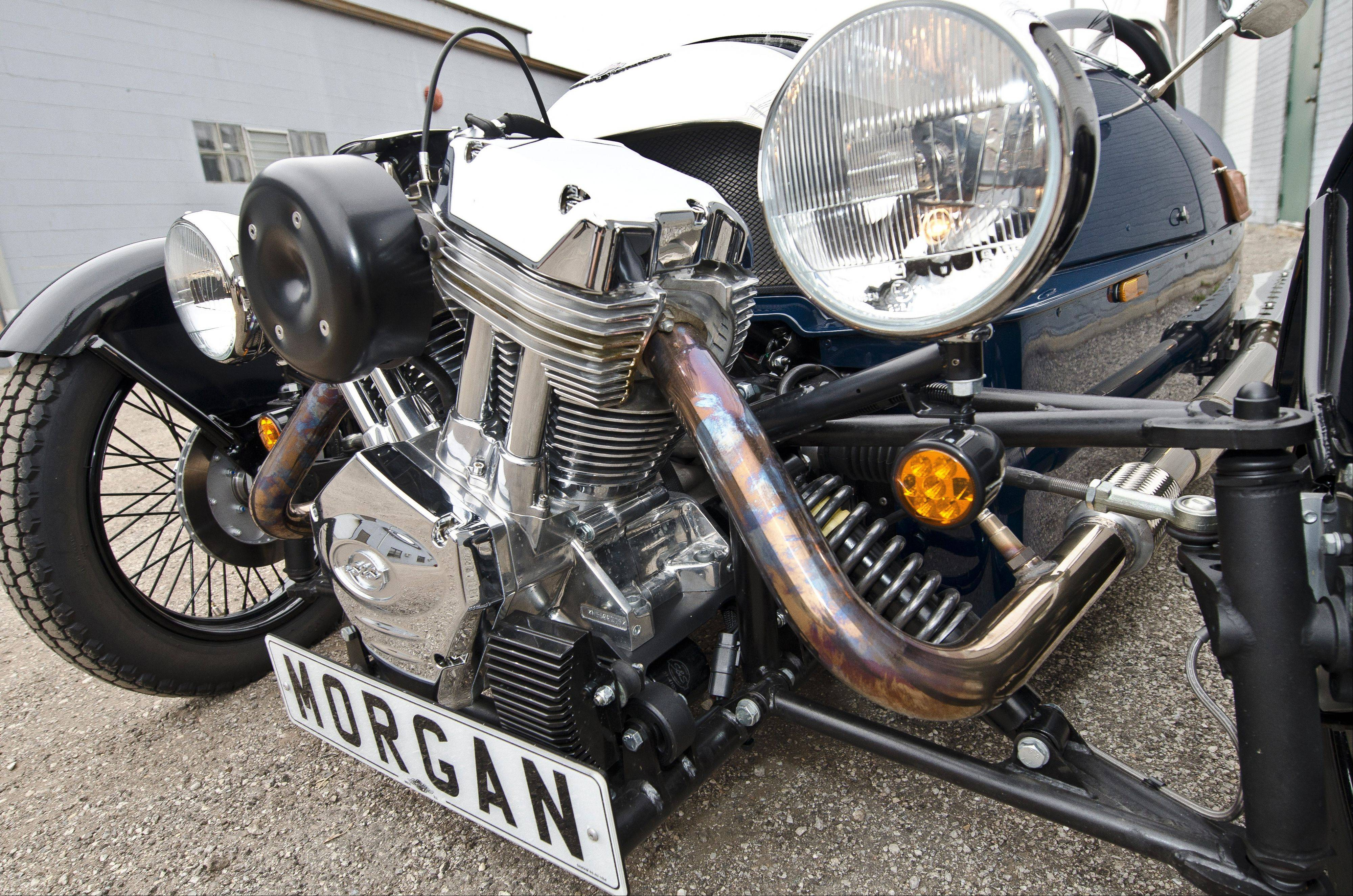 The Morgan is powered by a 2.0-liter motorcycle engine made by S&S Cycle in Wisconsin.