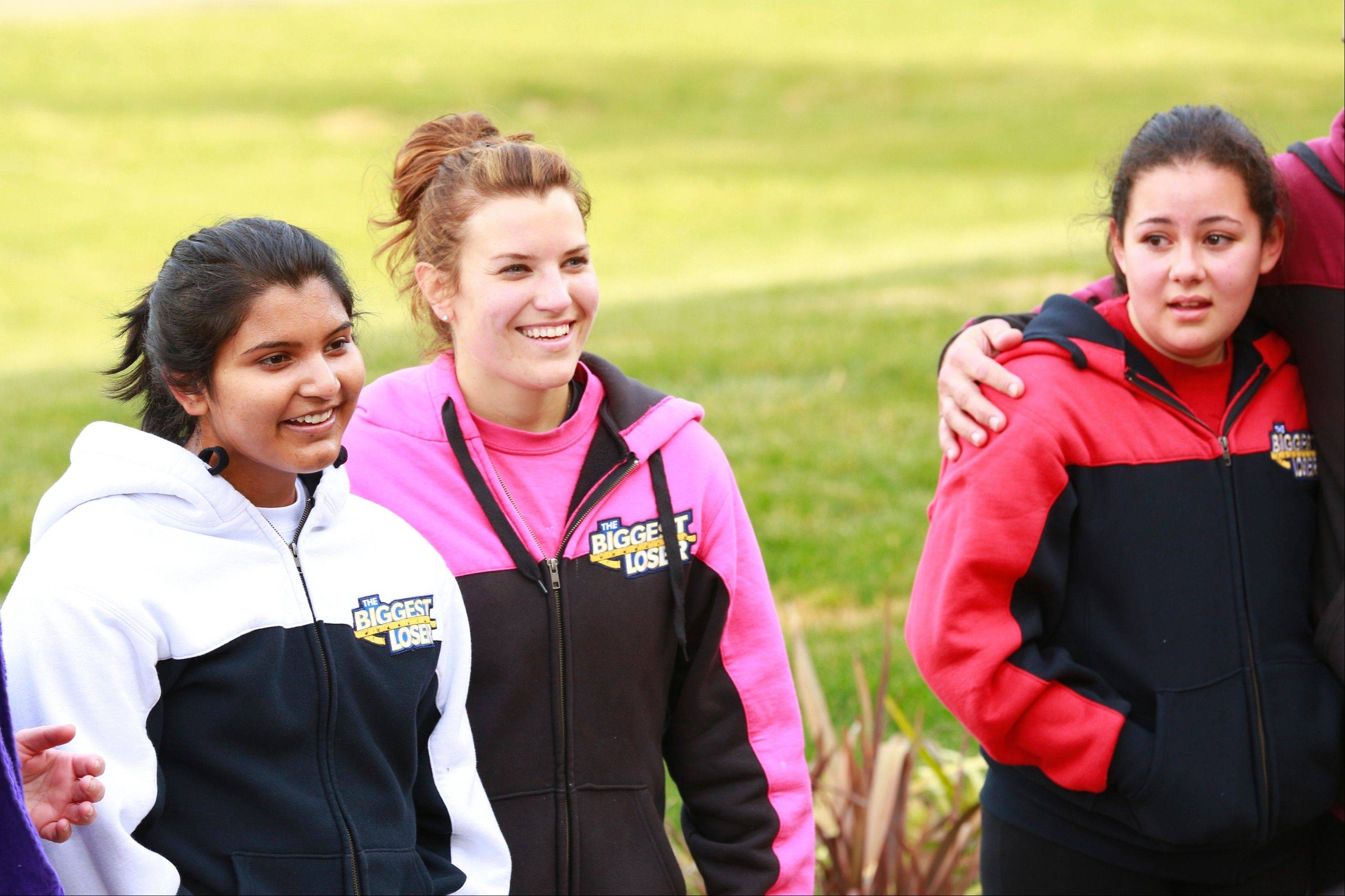 "Danni Allen is shown with two young people who worked on The Biggest Loser this season, Sanjana ""Sunny"" Chandrasekar and Lindsay Bravo."
