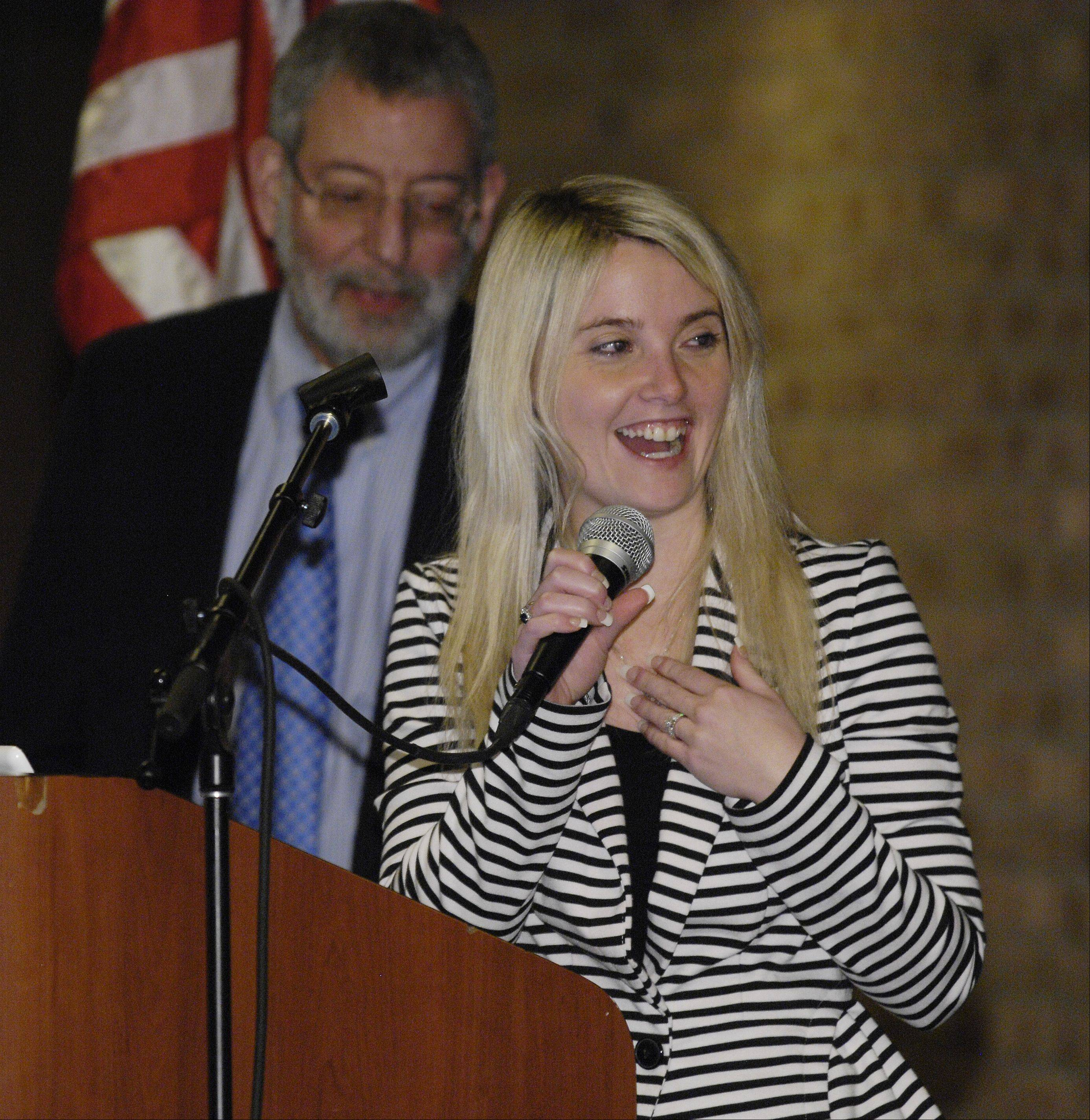 "Erin Merryn speaks after receiving the ""Champion for Children Award"" from the Children's Advocacy Center on Monday during a luncheon at Indian Lakes Resort in Bloomingdale."