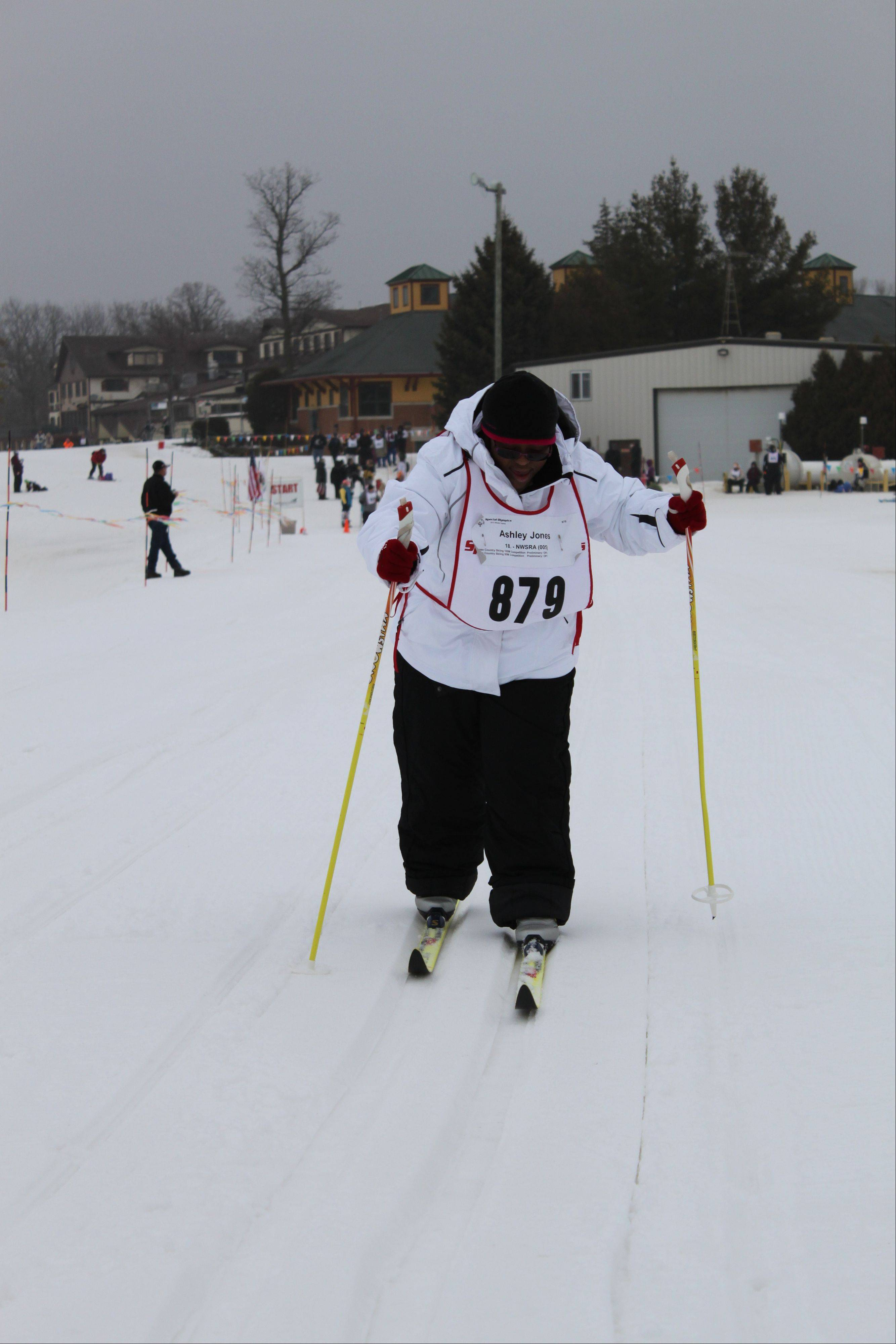 Ashley Jones competes in cross-country skiing, a new sport for her, at the Special Olympics 2012 State Winter Games.