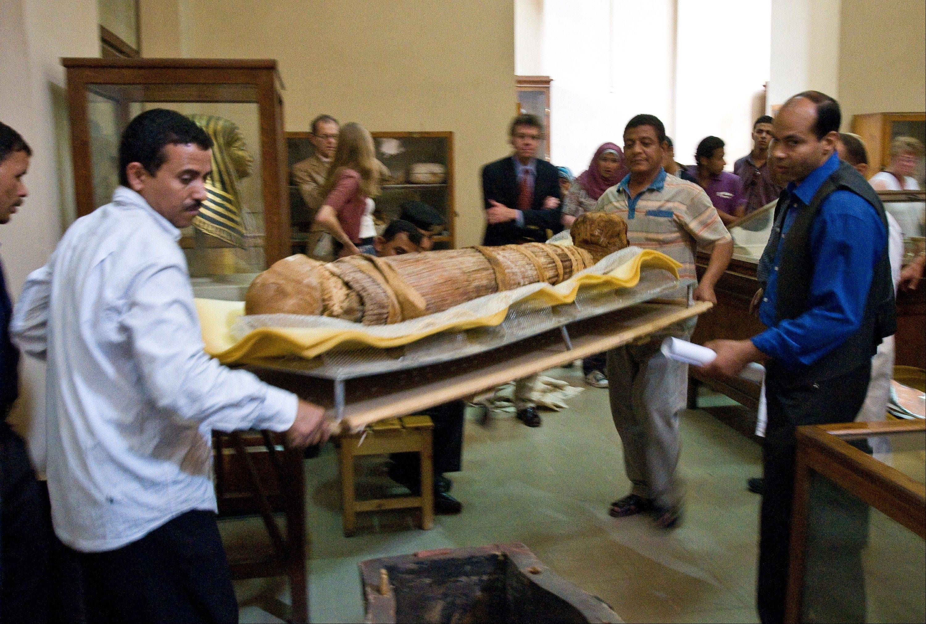 The mummy Hatiay (New Kingdom, 18th Dynasty, 1550 to 1295 BCE) as it is returned to its display back in the Antiquities Museaum in Cairo after it underwent a CT scanning.