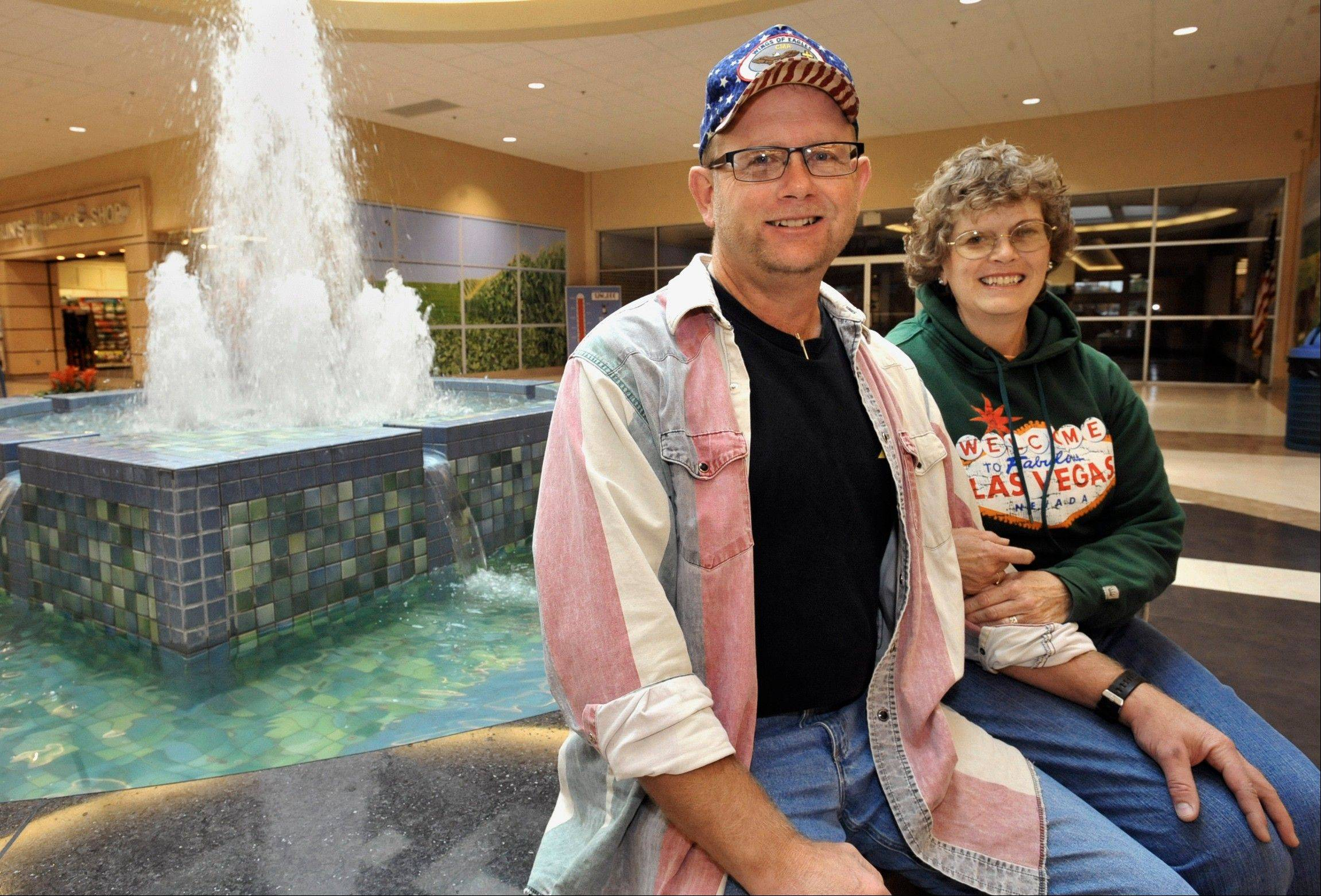 Paul and Evelyn Weber at the Cross County Mall in Mattoon.