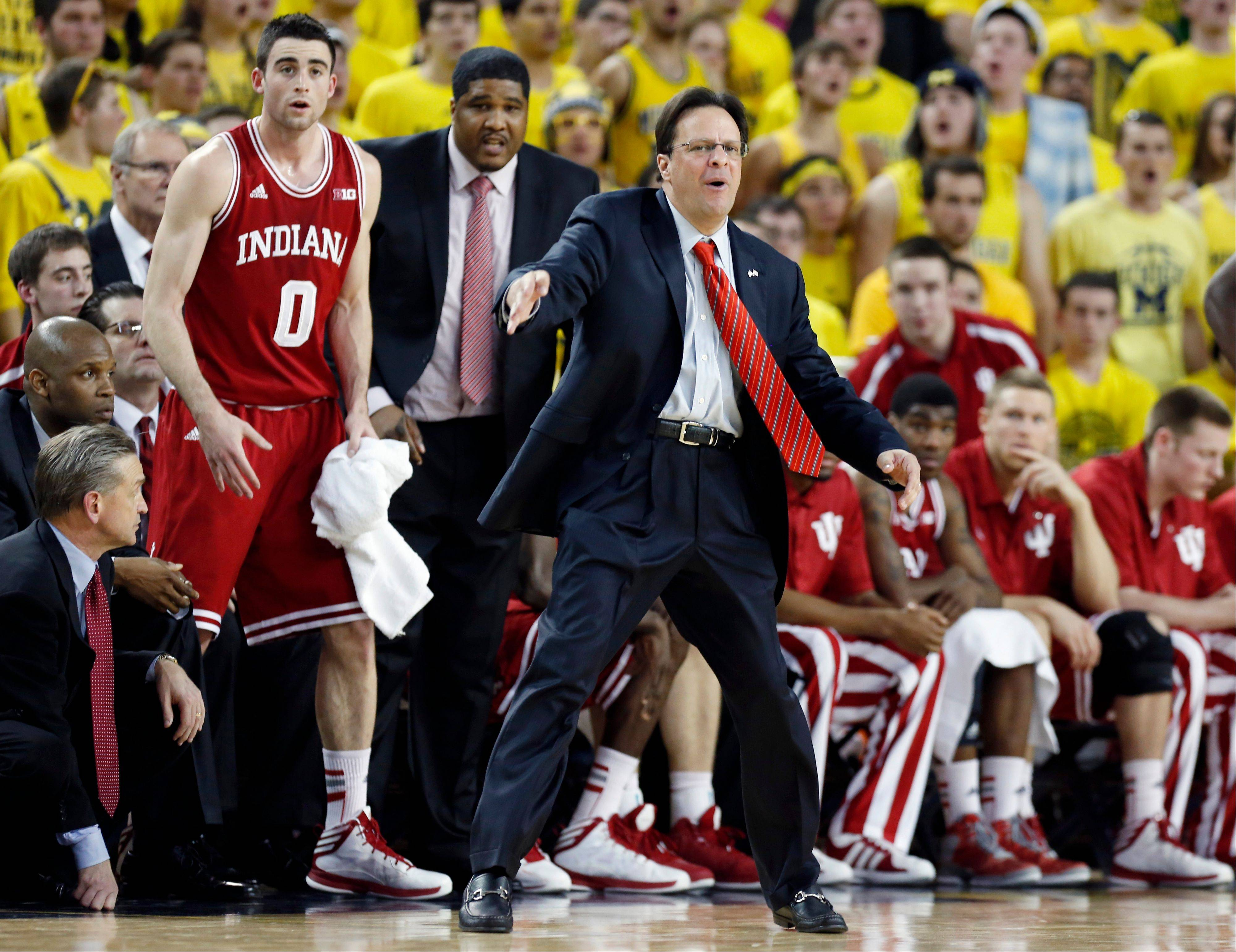 Indiana coach Tom Crean directs his team from the bench Sunday during the second half against Michigan in Ann Arbor, Mich. Indiana came from behind to defeat Michigan 72071 and capture their first outright Big Ten title in two decades.