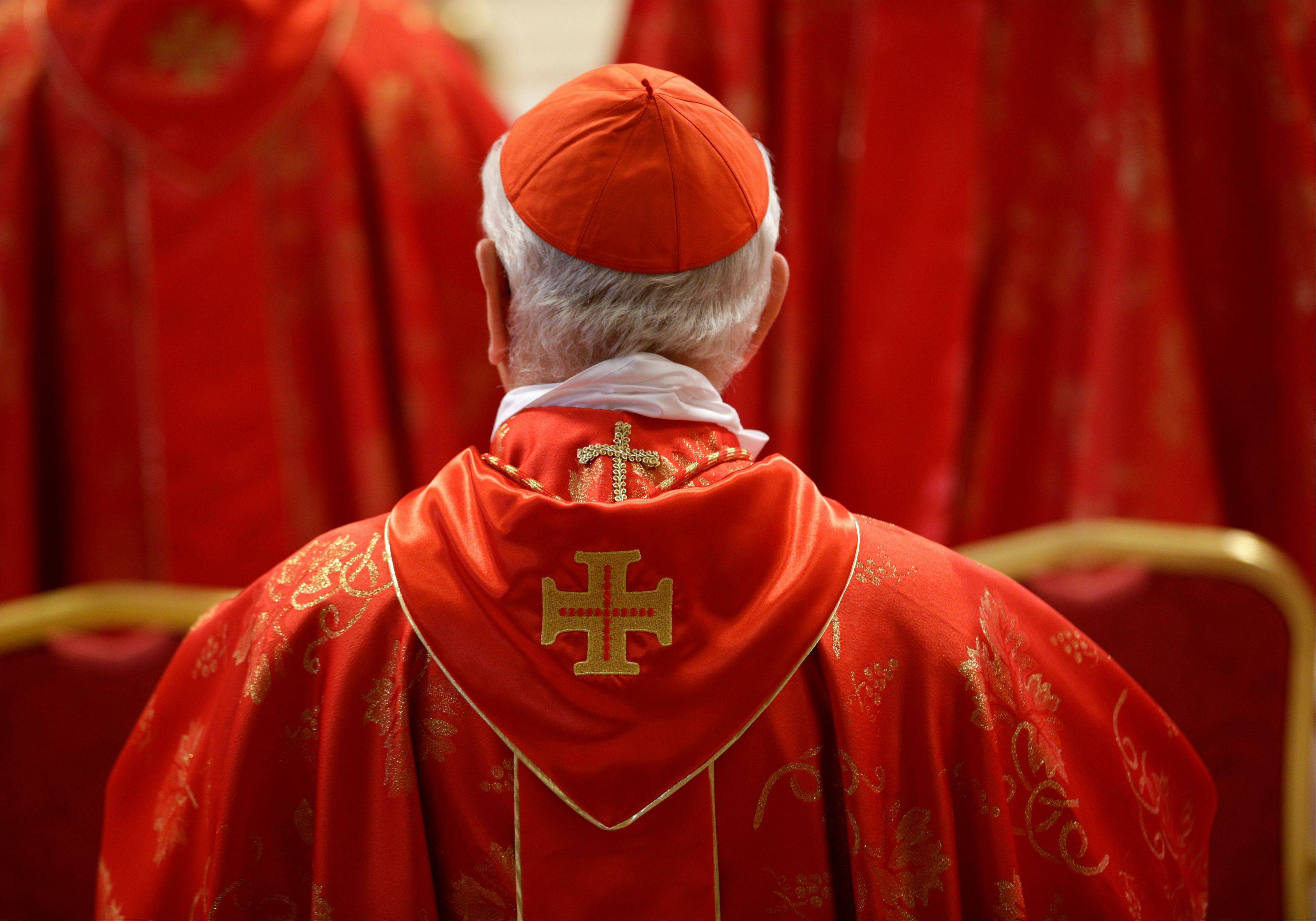 A cardinal attends a Mass for the election of a new pope celebrated inside St. Peter's Basilica, at the Vatican, Tuesday, March 12, 2013.