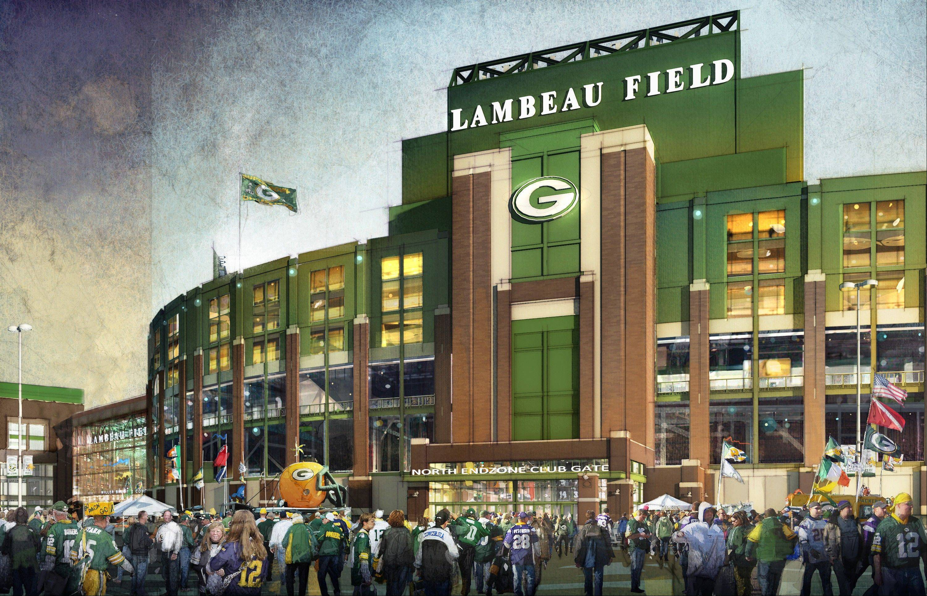 An artists rendering provided by the Green Bay Packers showing the new north entry gate to be built at Lambeau Field, part of the teams expansion plans.