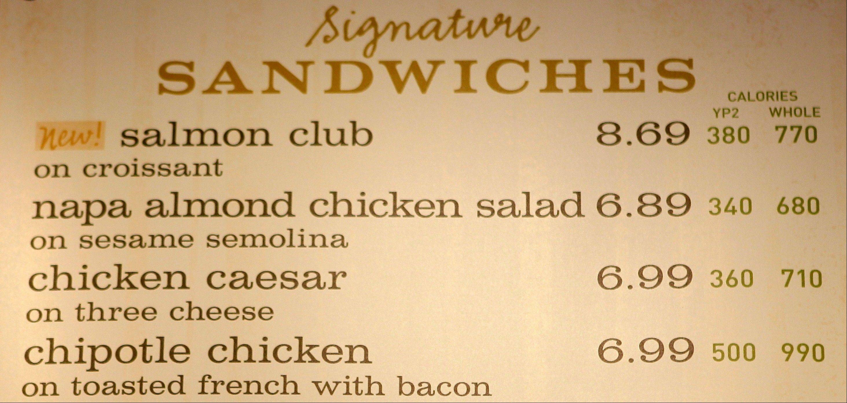 The sandwich board at the Panera store in Brookline, Mass shows the calorie count for each item.