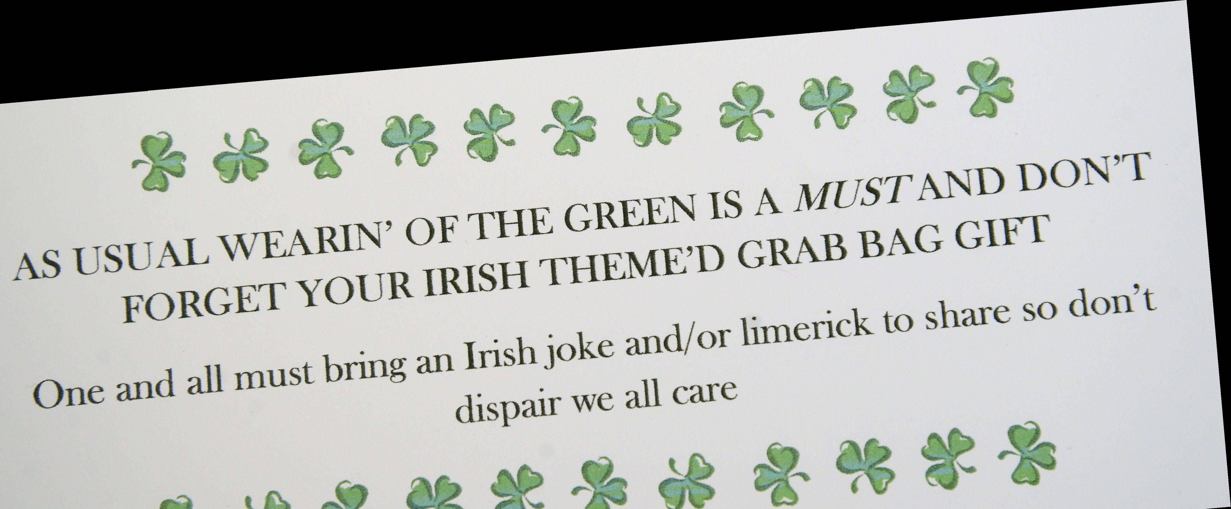 The invitation to Margaret Mary Eklund's Lassie Luncheon asks guests to wear green and bring an Irish joke or limerick.