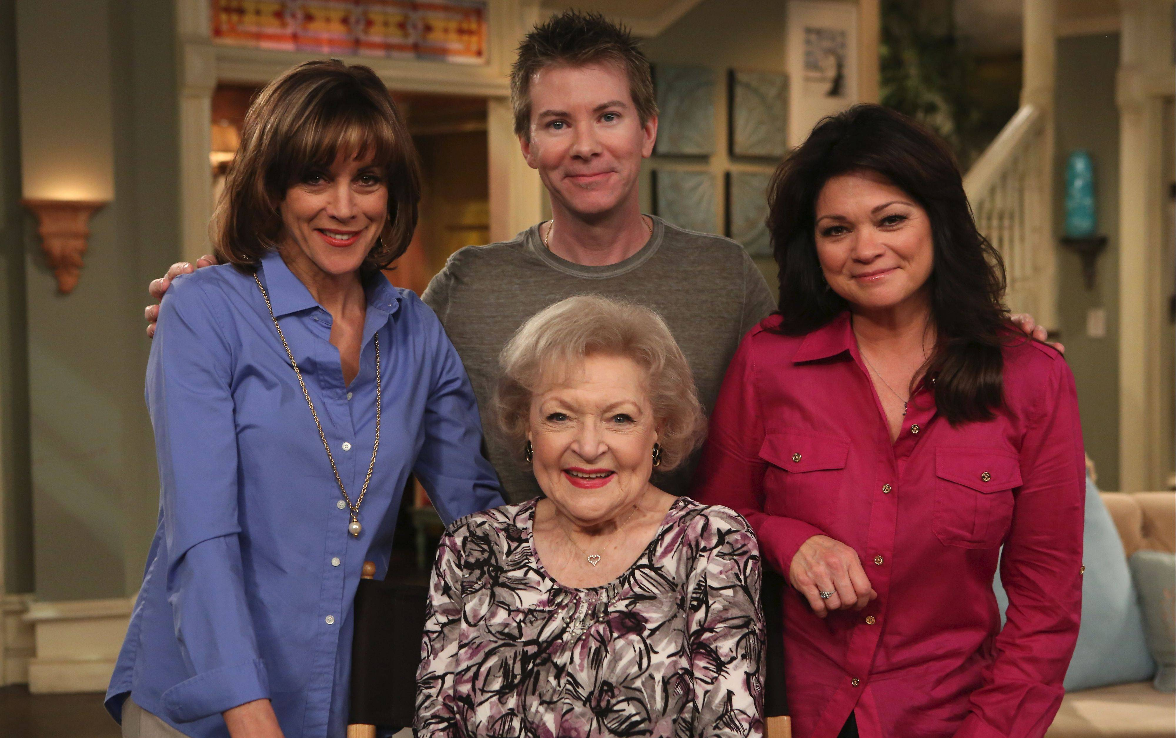 "Hoffman Estates native Emerson Swinford hangs out with TV Land's ""Hot in Cleveland"" stars Wendie Malick, Betty White and Valerie Bertinelli. Swinford composed the show's catchy theme."